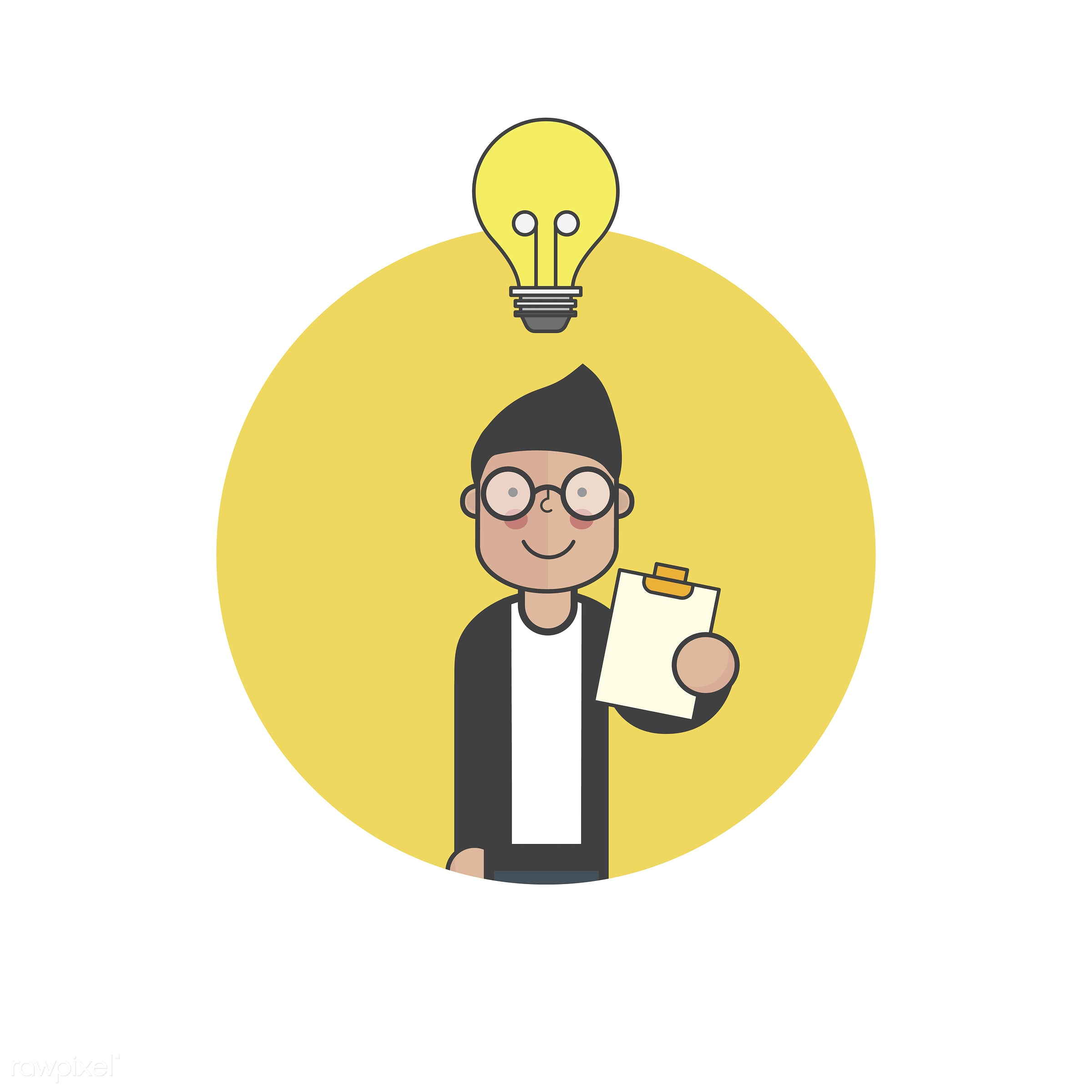 Illustration of people avatar - creative, avatar, icon, cartoon, character, drawing, graphic, ideas, illustration, lightbulb...