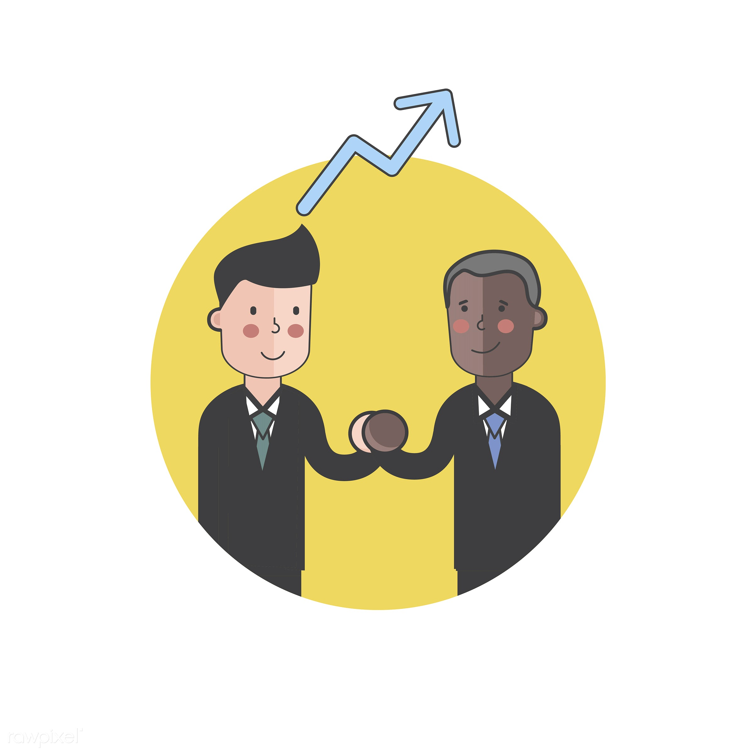 Illustration of people avatar - investment, arrow, businessmen, cartoon, character, chart, drawing, financial, graph,...