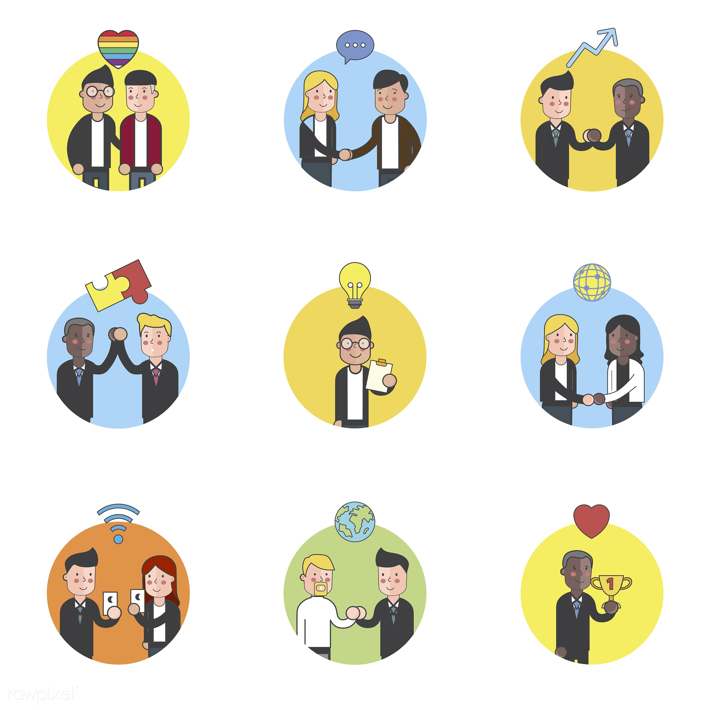 Illustration set of people avatar - cartoon, character, drawing, graphic, illustration, people, vector, collection, icon,...