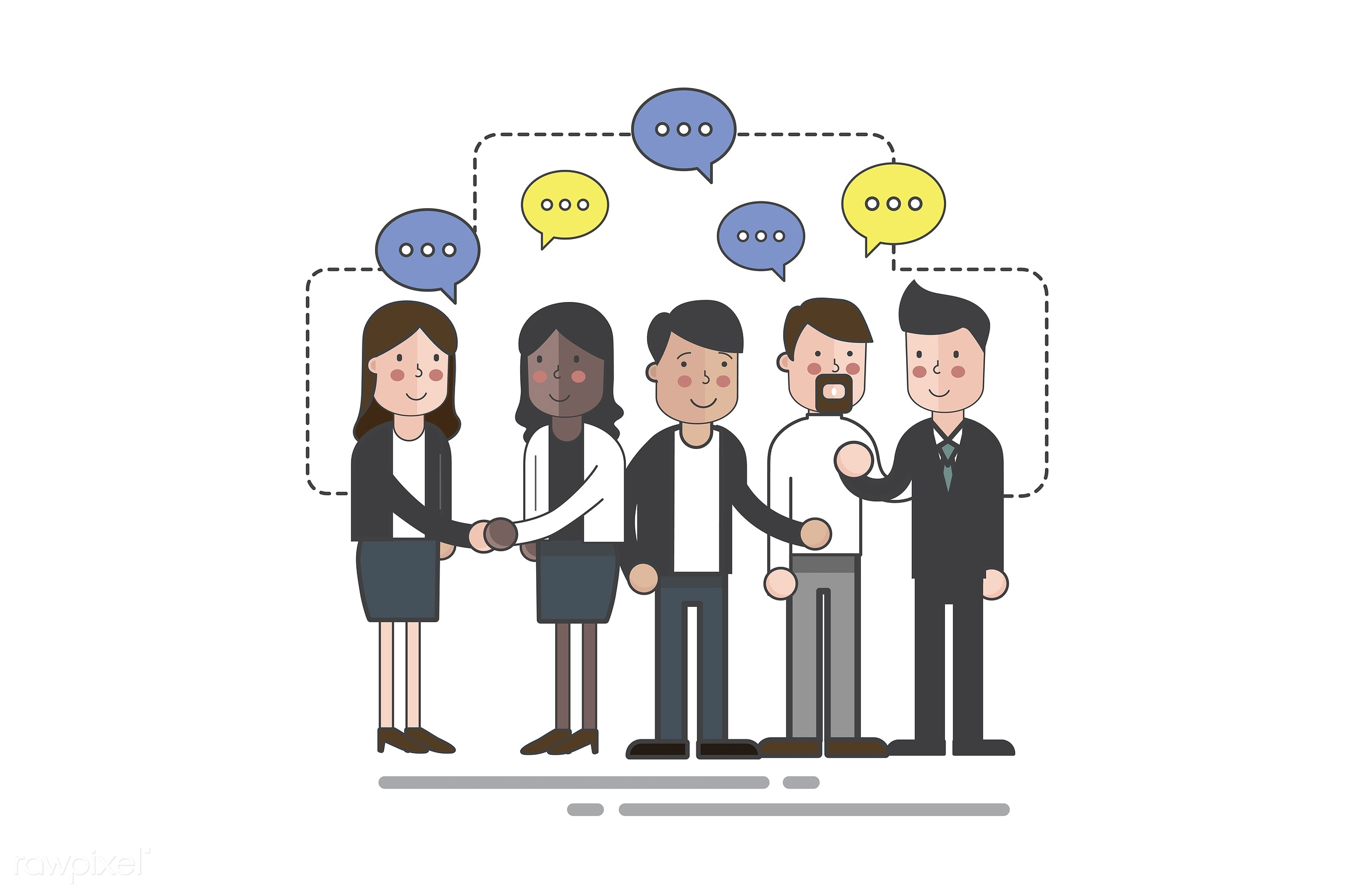 Vector of business people - business, cartoon, character, communication, connection, conversation, corporate, diversity,...