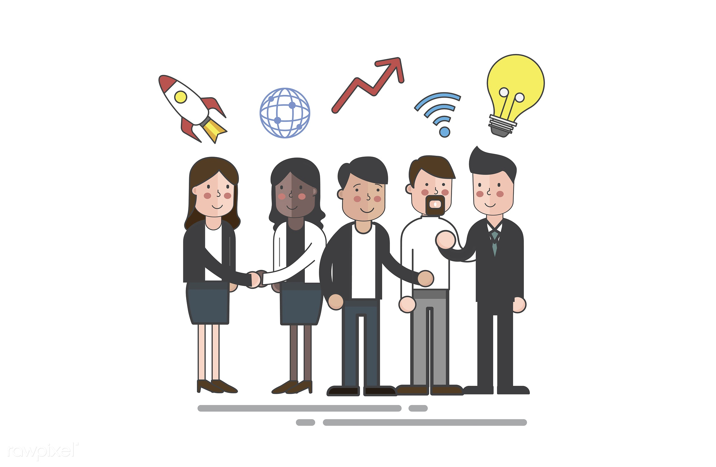 Vector of business people - rocket, business, cartoon, character, communication, connection, corporate, diversity, drawing,...