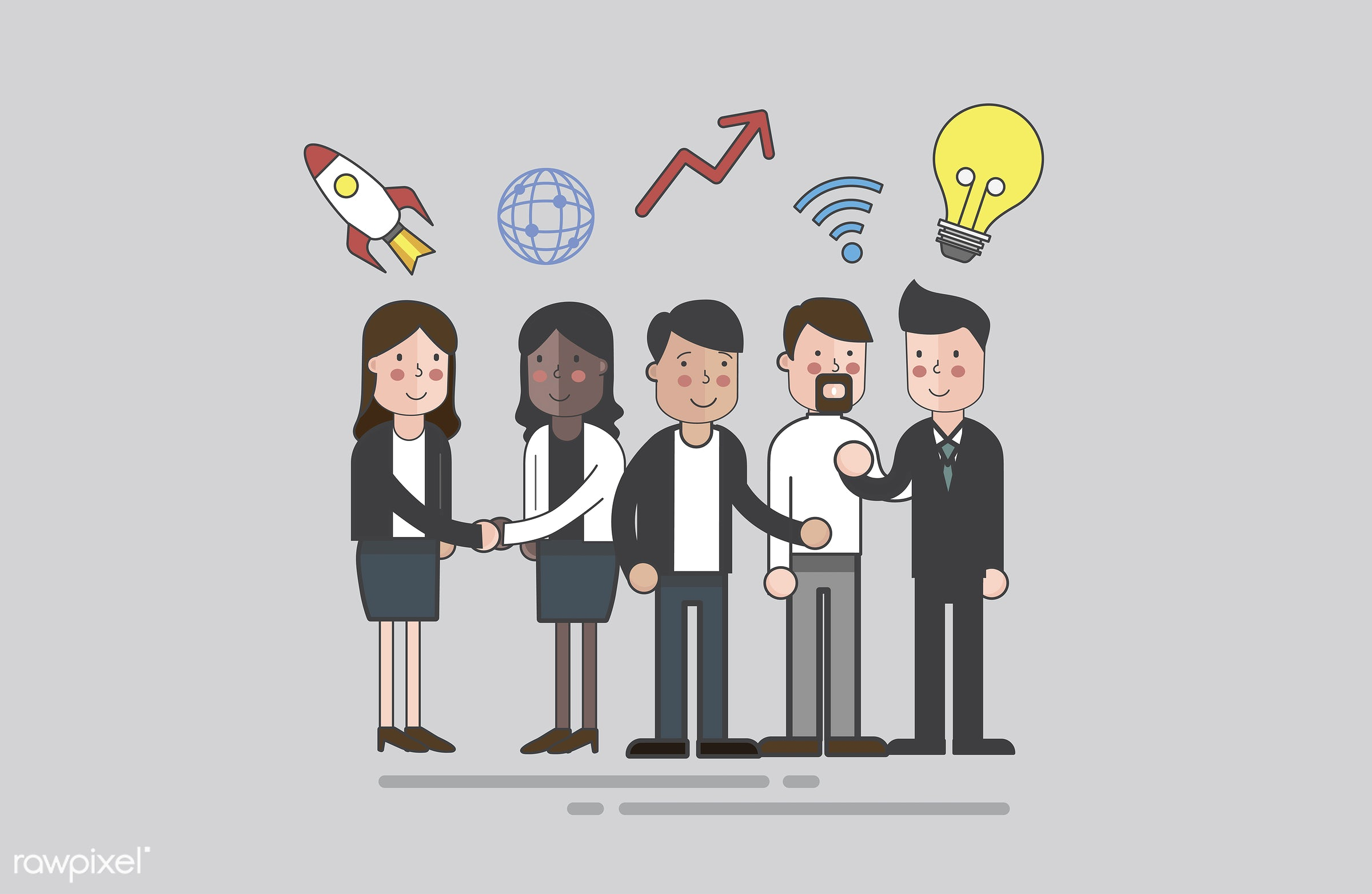Vector of business people - job, business, cartoon, character, communication, connection, corporate, diversity, drawing,...