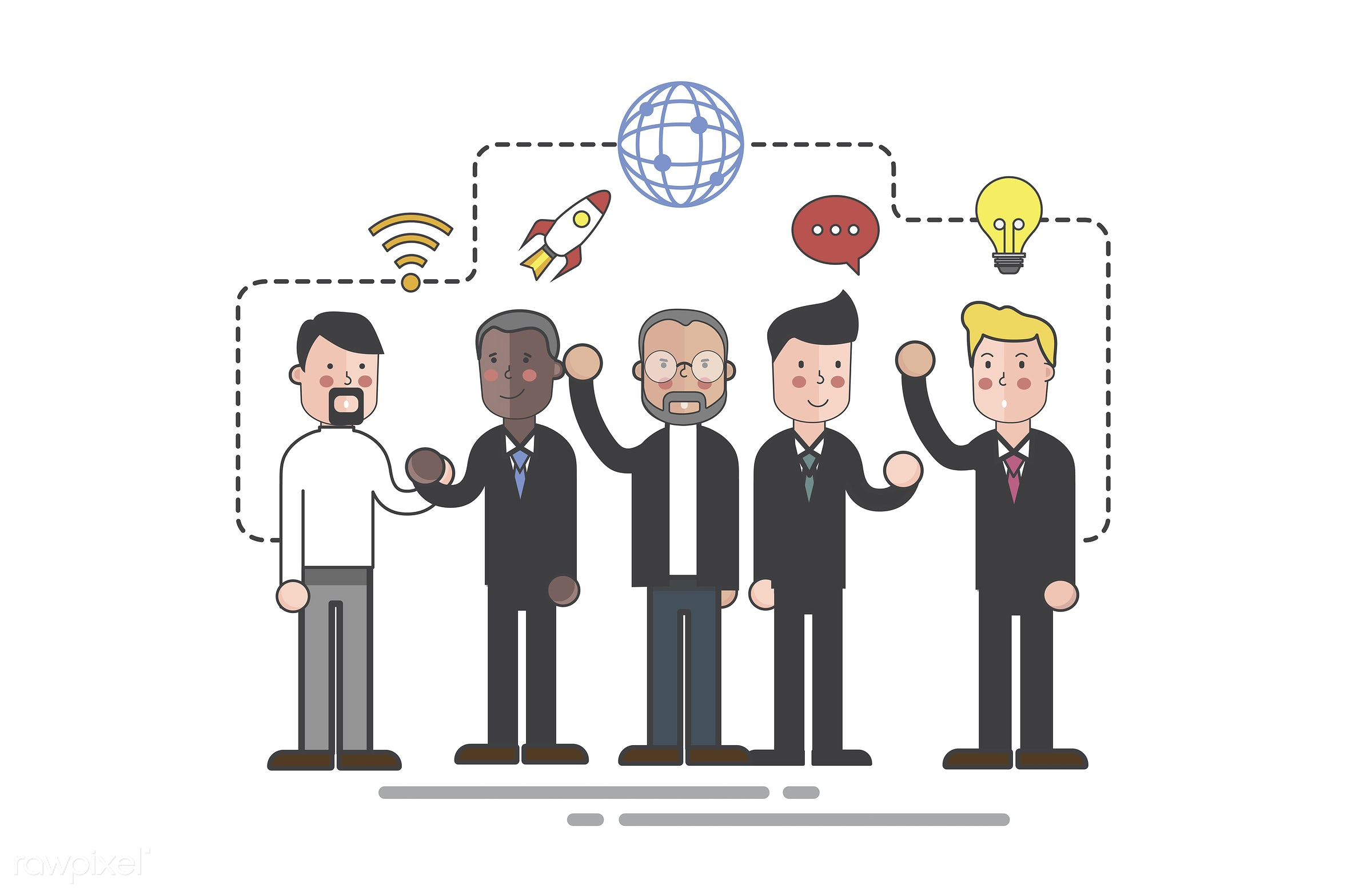 Vector of business people - avatar, business, cartoon, character, communication, connection, corporate, diversity, drawing,...