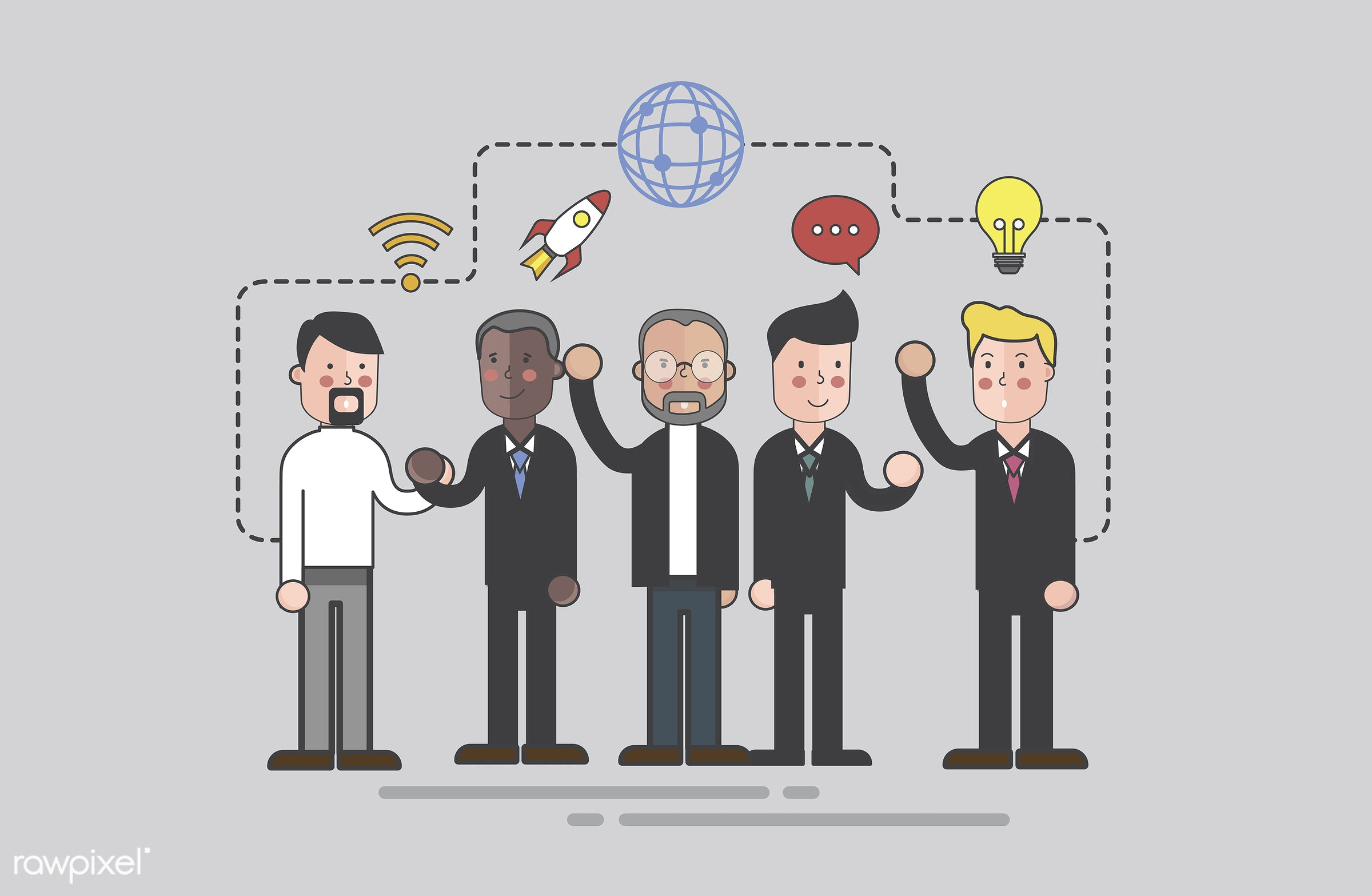 Vector of business people - business, cartoon, character, communication, corporate, diversity, drawing, employee, flat,...