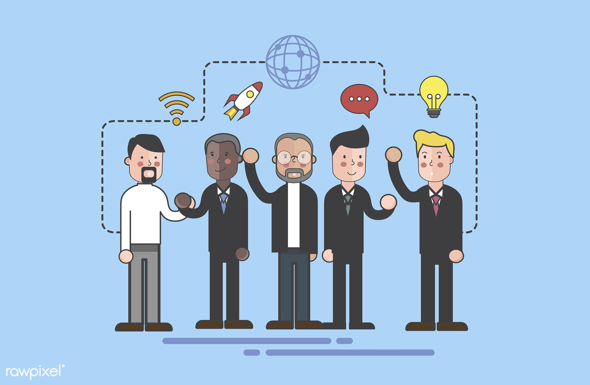 Vector of business people team illustration - business, cartoon, character, communication, corporate, diversity, drawing,...