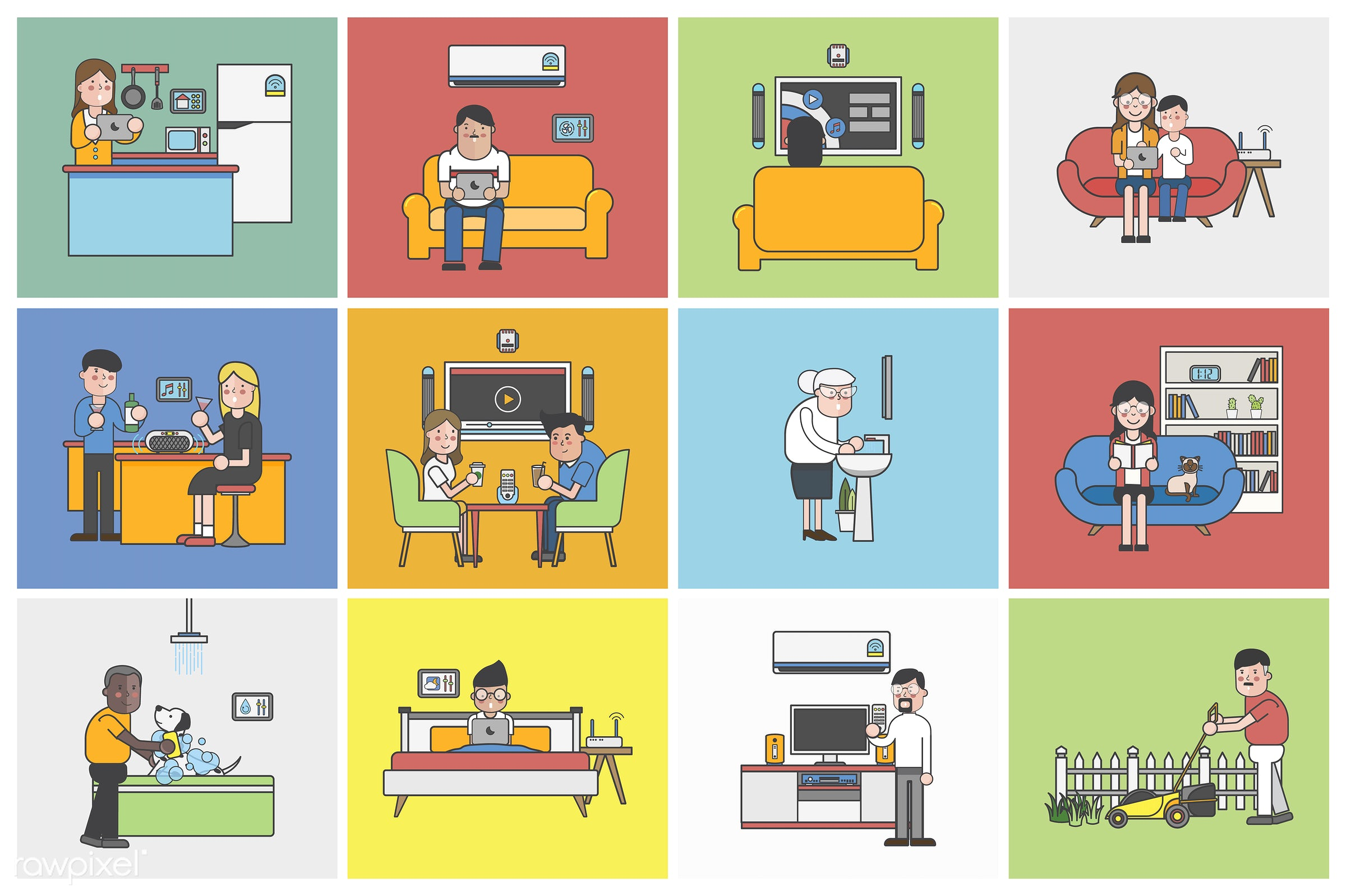 Collection of illustrated people in various daily situations - kitchen, bathroom, cook, house, parent, residence, tablet,...