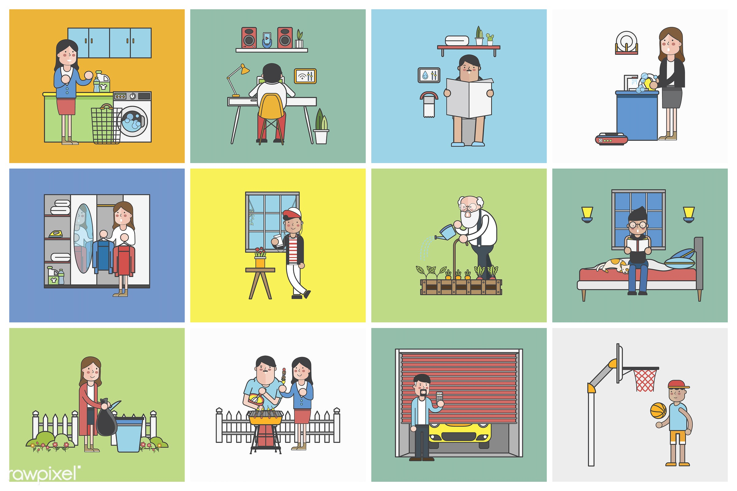 Collection of illustrated people in various daily situations - home, house, comfort, homely, cosy, warmth, living, household...