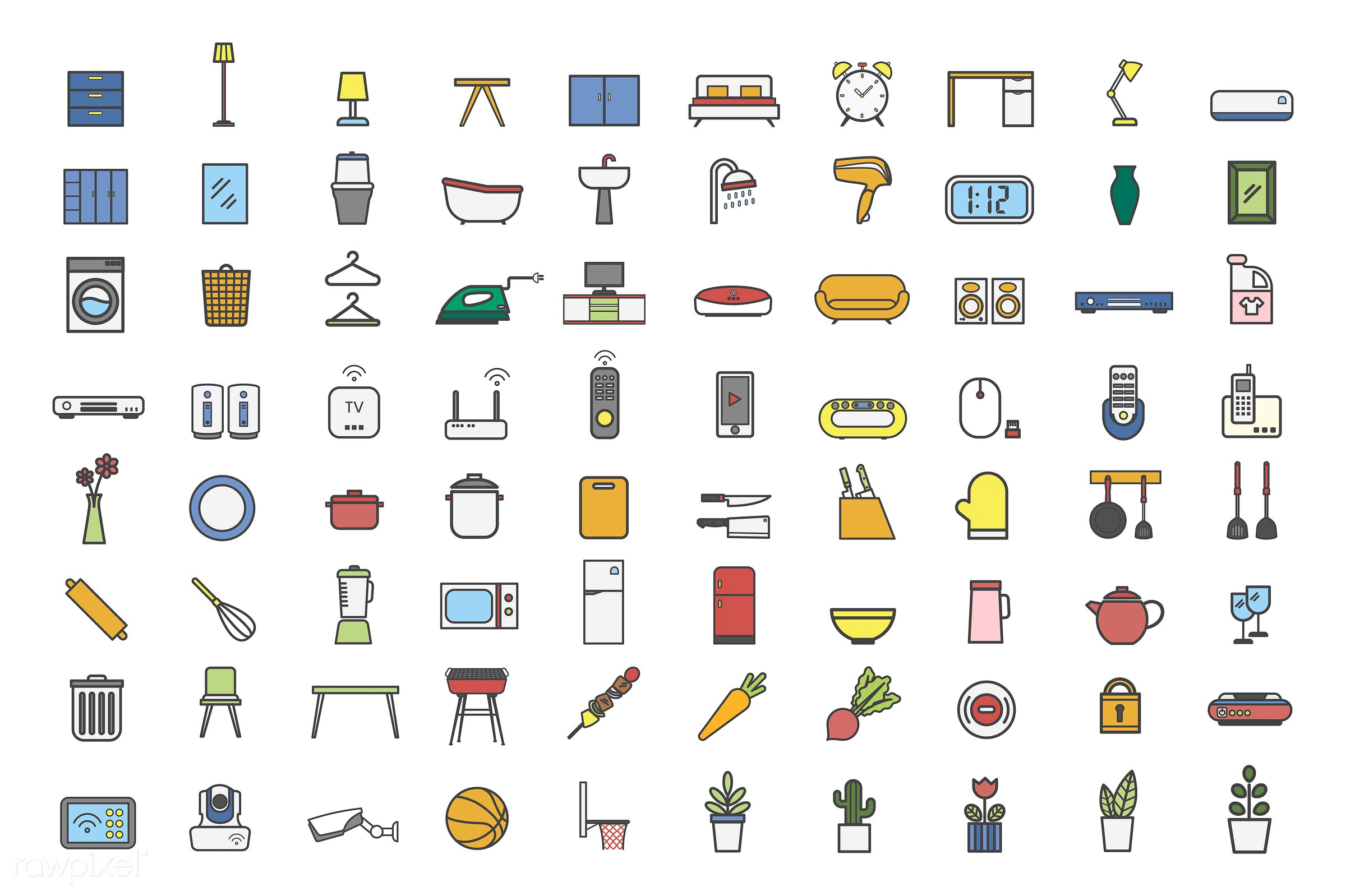 Collection of household item vectors - home, house, household, living, abode, adults, comfort, cozy, dwelling, homely, pad,...