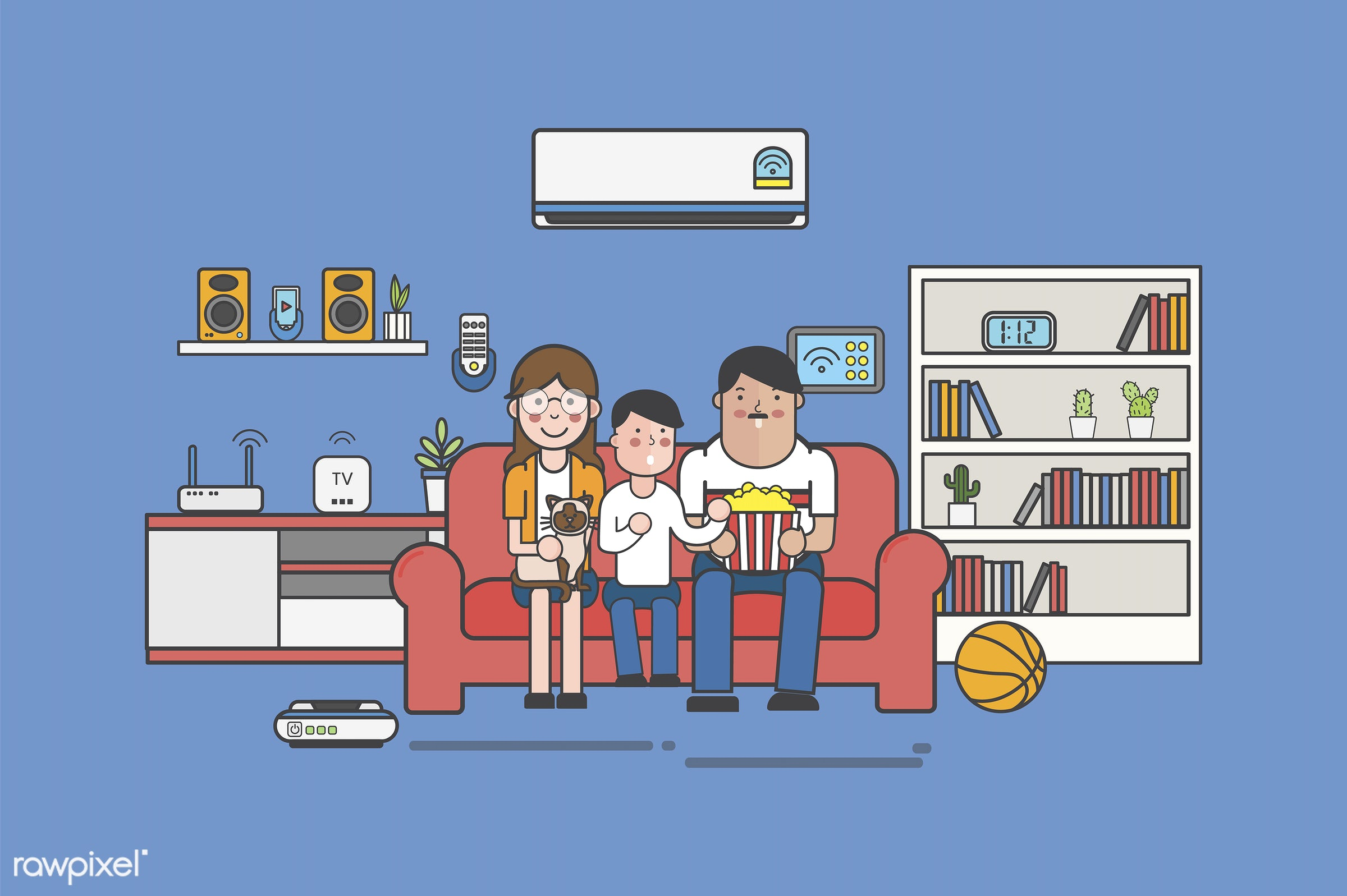 Illustration of a family watching TV at home - basketball, bookshelf, home, abode, adults, child, chill, comfort, couch,...