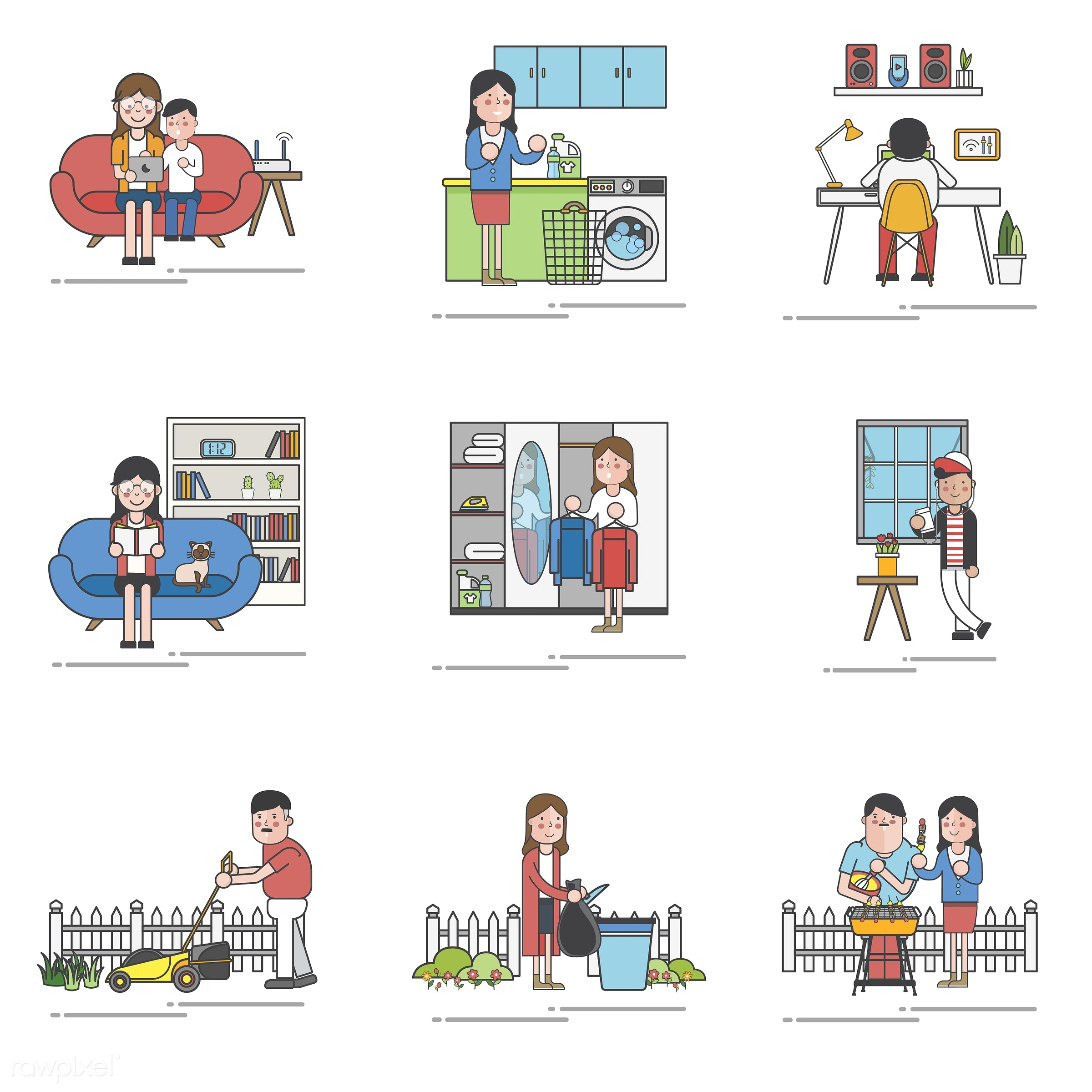 home, house, comfort, homely, cosy, warmth, living, household, residence, pad, abode, dwelling, vector, adults, child, couch...