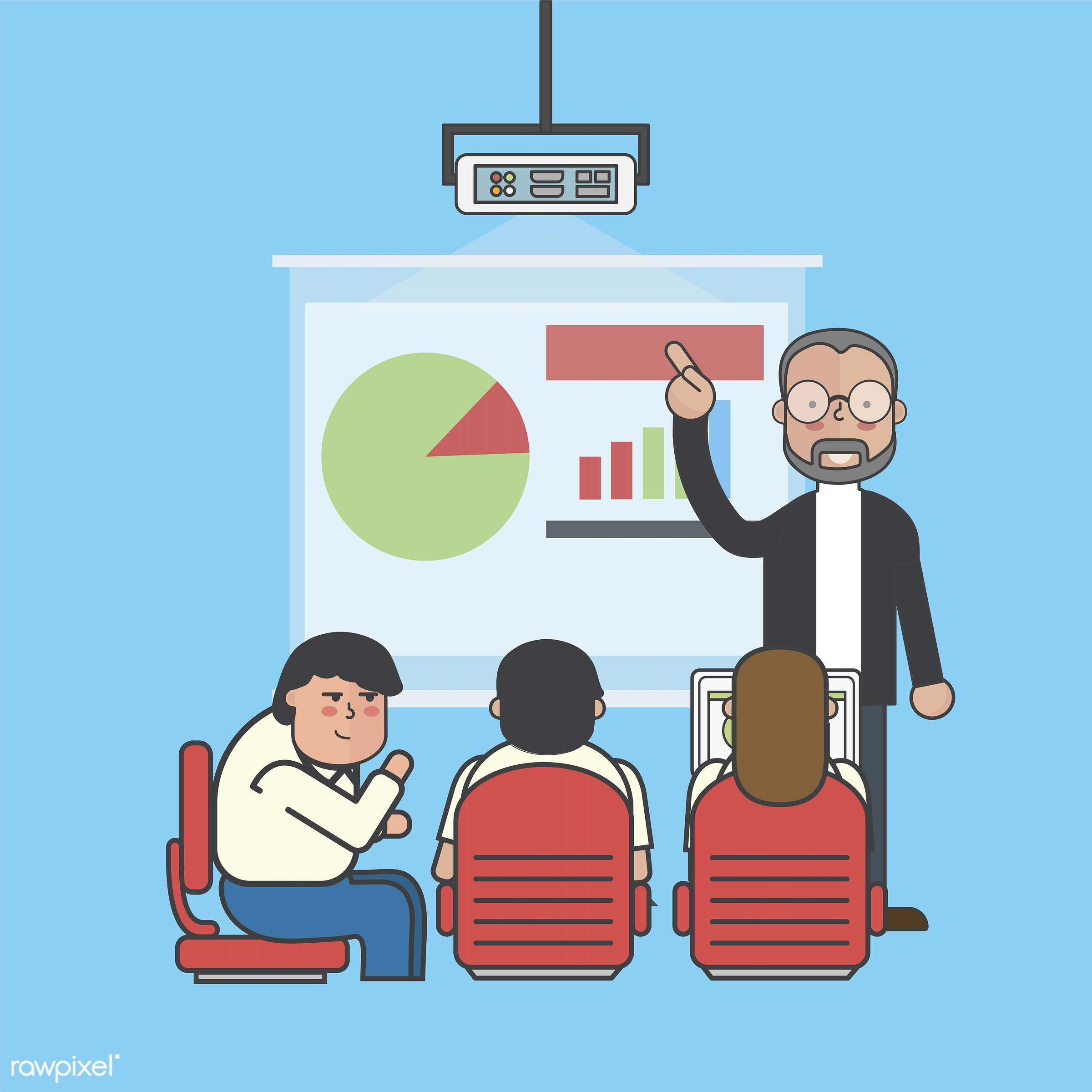 Illustration of business people avatar - analysis, artwork, avatar, business, cartoon, character, conference, corporate,...