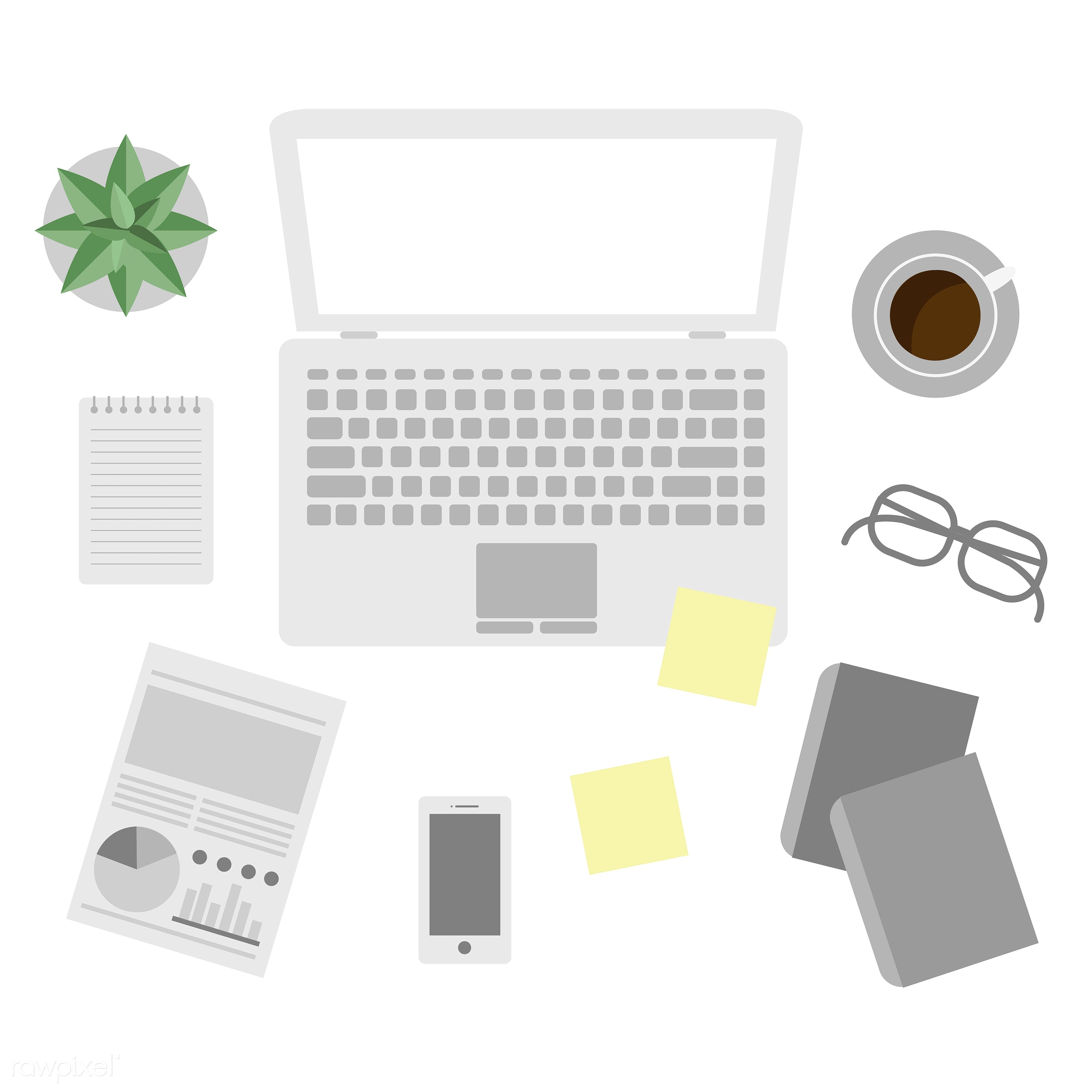 Office equipment vector - laptop, office, technology, document, flat lay, graphic, icon, illustration, notebook, office...