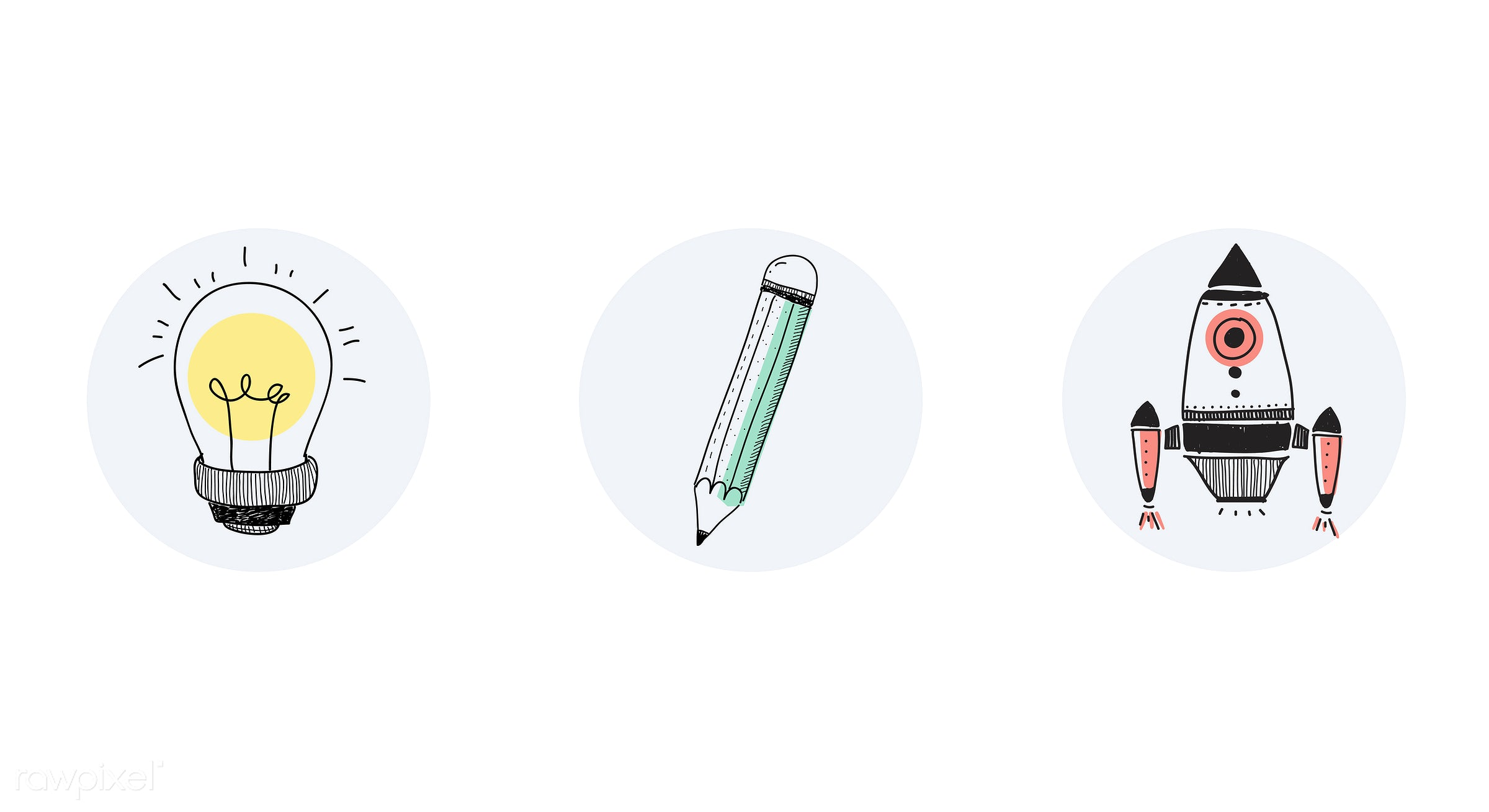 Vector of a three tools - rocket, business, bulb, creative, design, doodle, electrical, electricity, energy, exploration,...