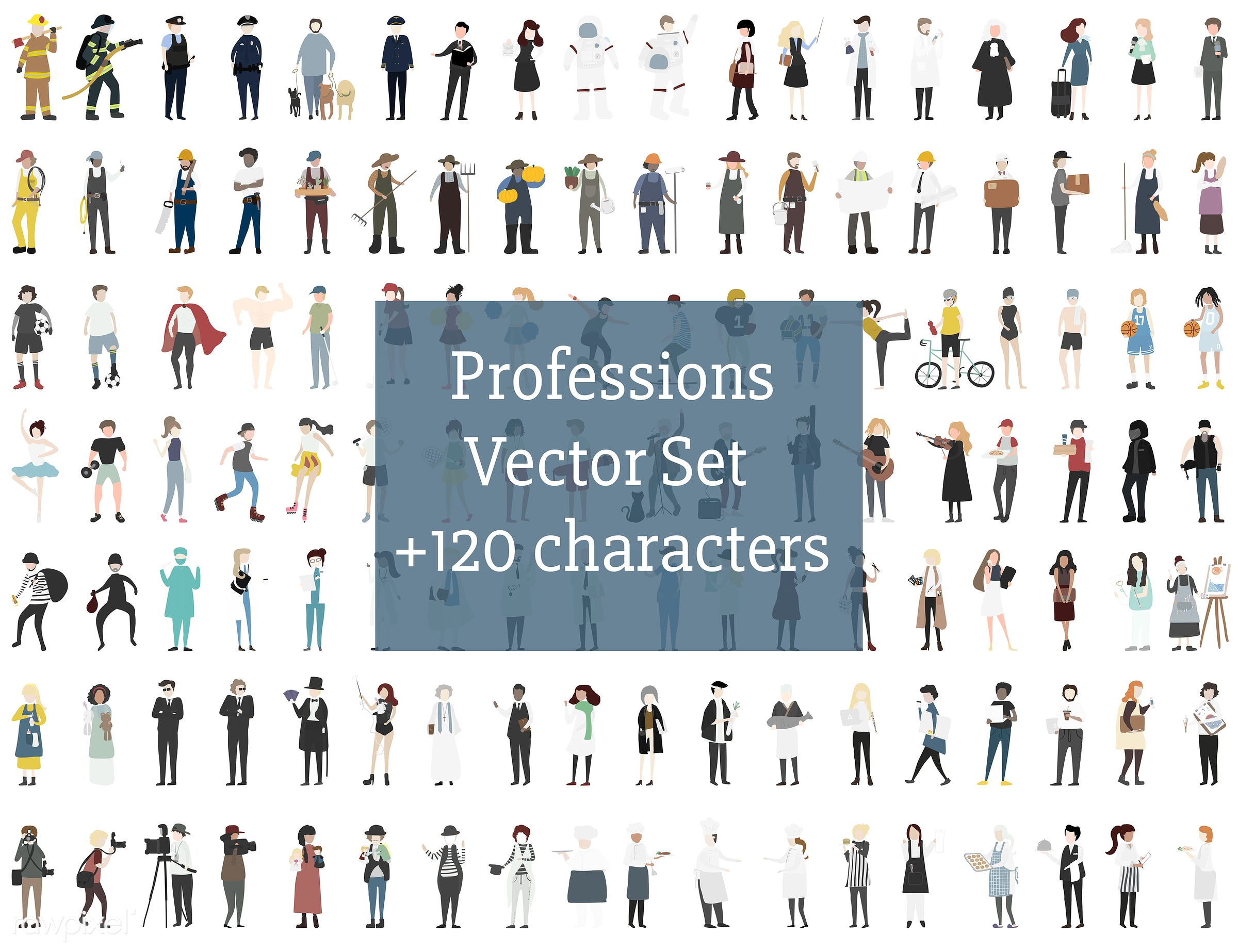 Vector set of illustrated people - character, career, cartoon, collection, community, diversity, graphic, illustration,...
