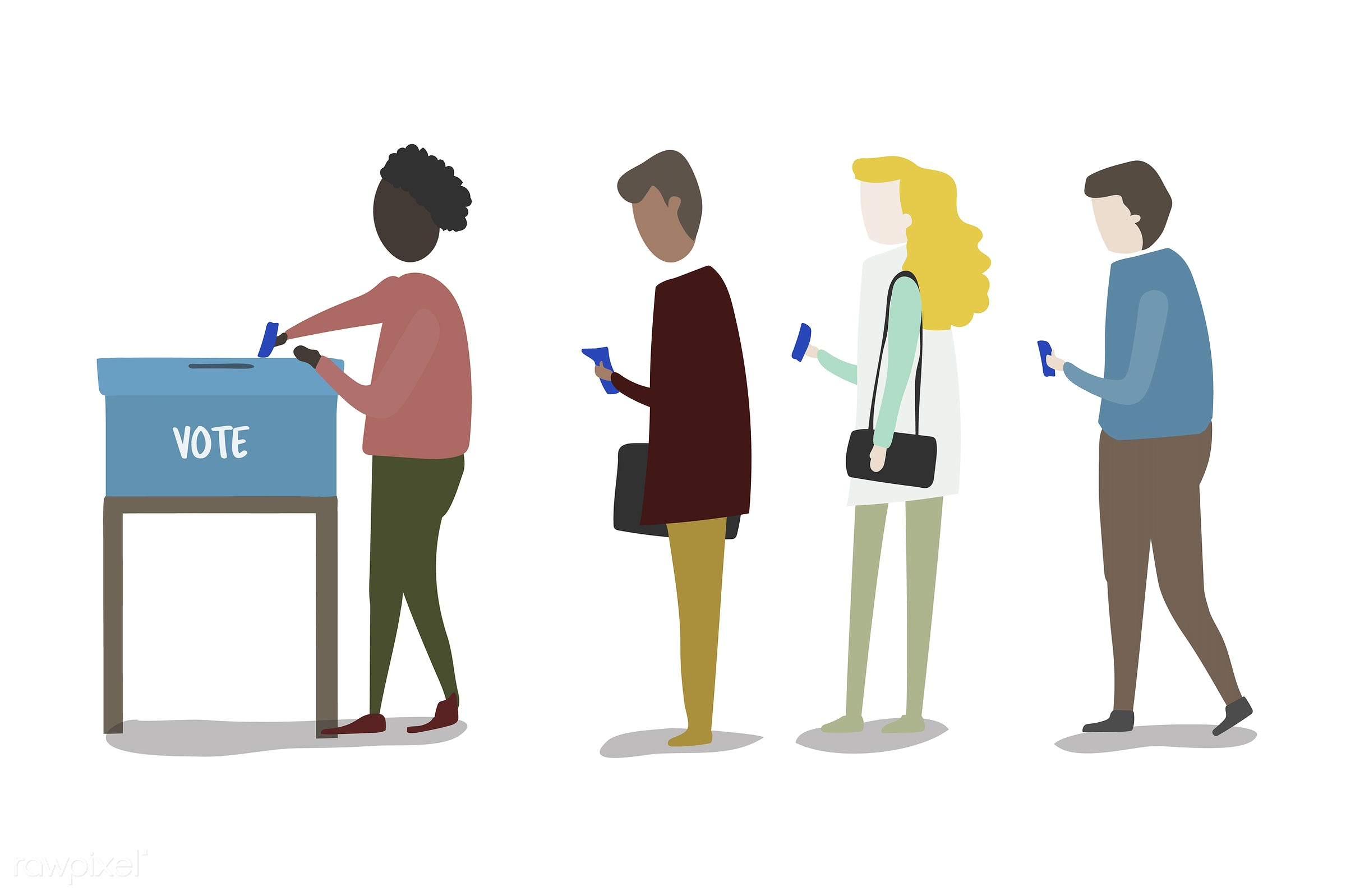 Vector set of illustrated people - poll, election, career, cartoon, character, collection, community, decision, diversity,...