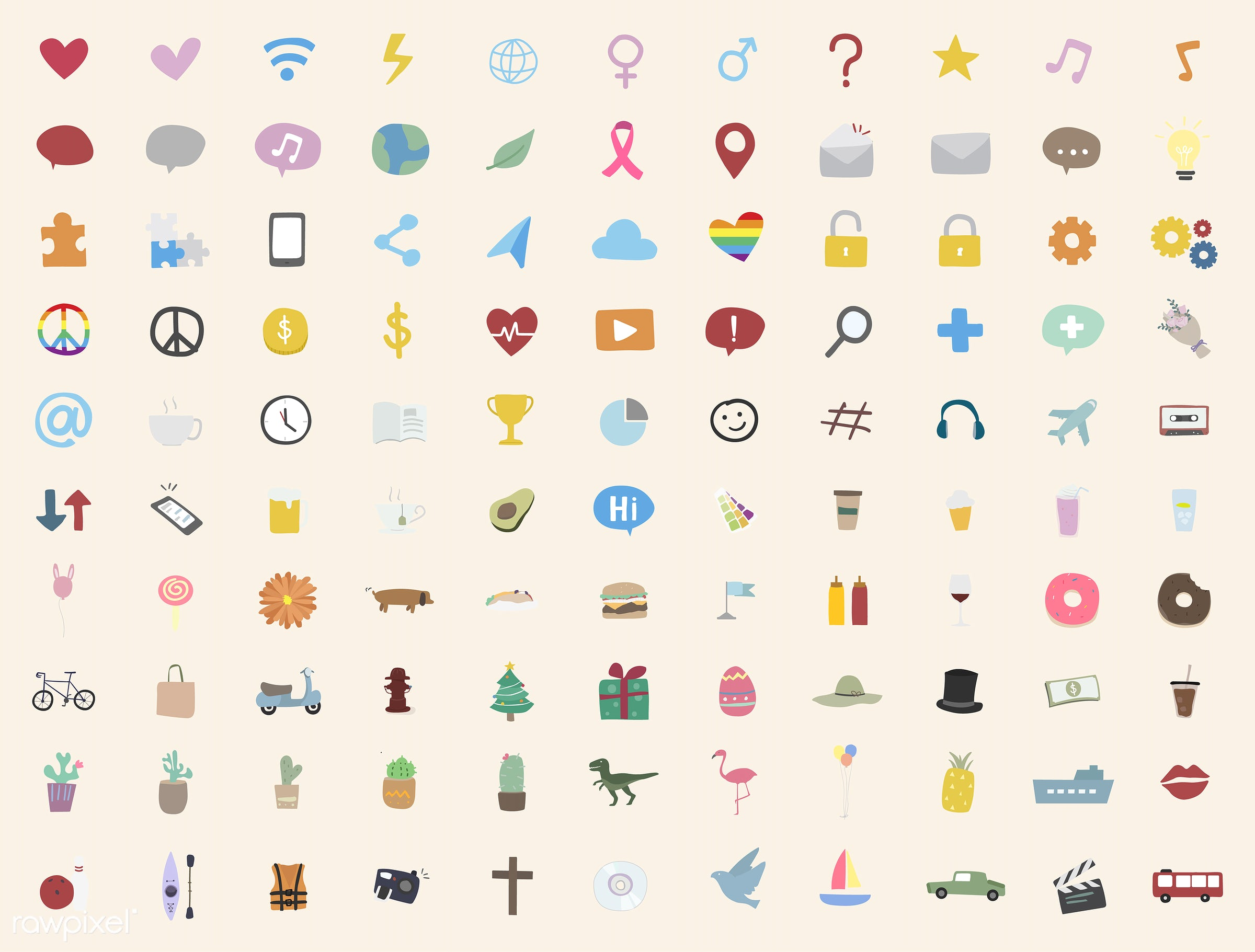 Vector set of illustrated people - collection, design, flat, graphic, icon, illustration, lifestyle, media, network, set,...