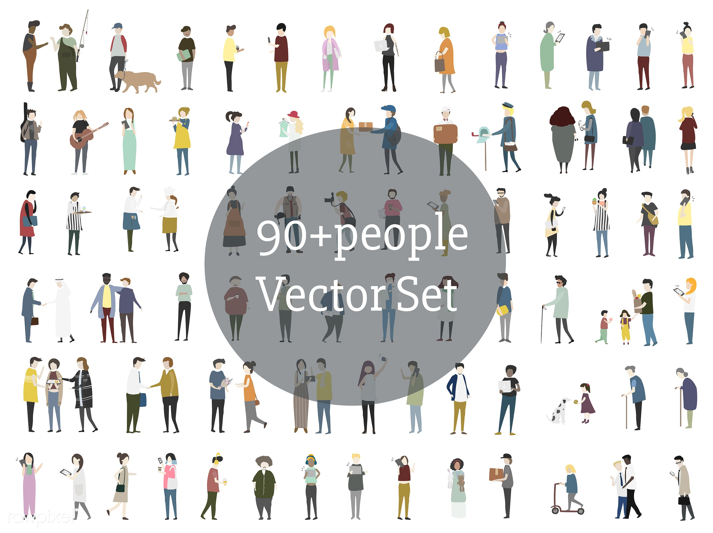 Vector set of illustrated people - character, occupation, career, cartoon, collection, community, diversity, graphic,...