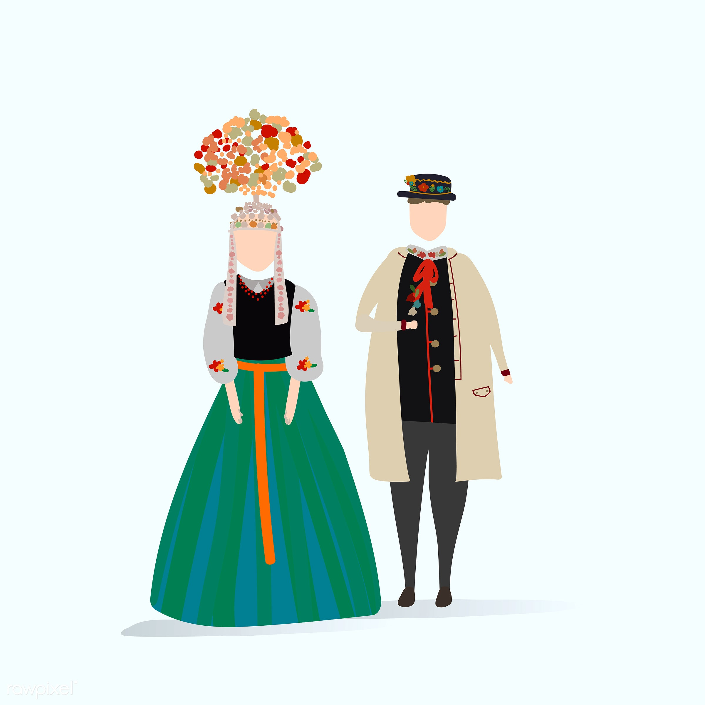 Vector set of illustrated people - poland, costume, country, couple, female, graphic, illustration, love, male, nationality...