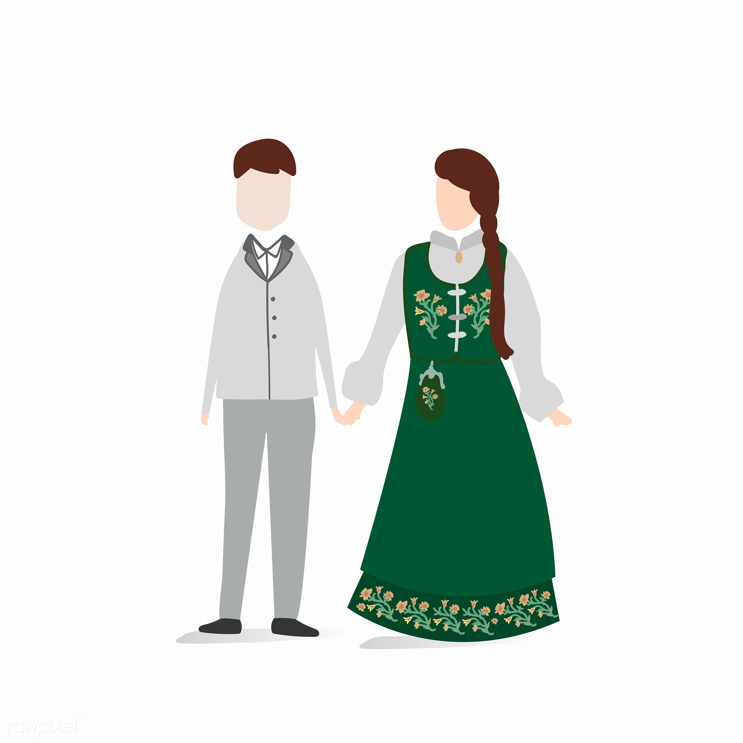 Norwegian traditional wedding dress vector - couple, female, graphic, illustration, love, male, relation, relationship,...