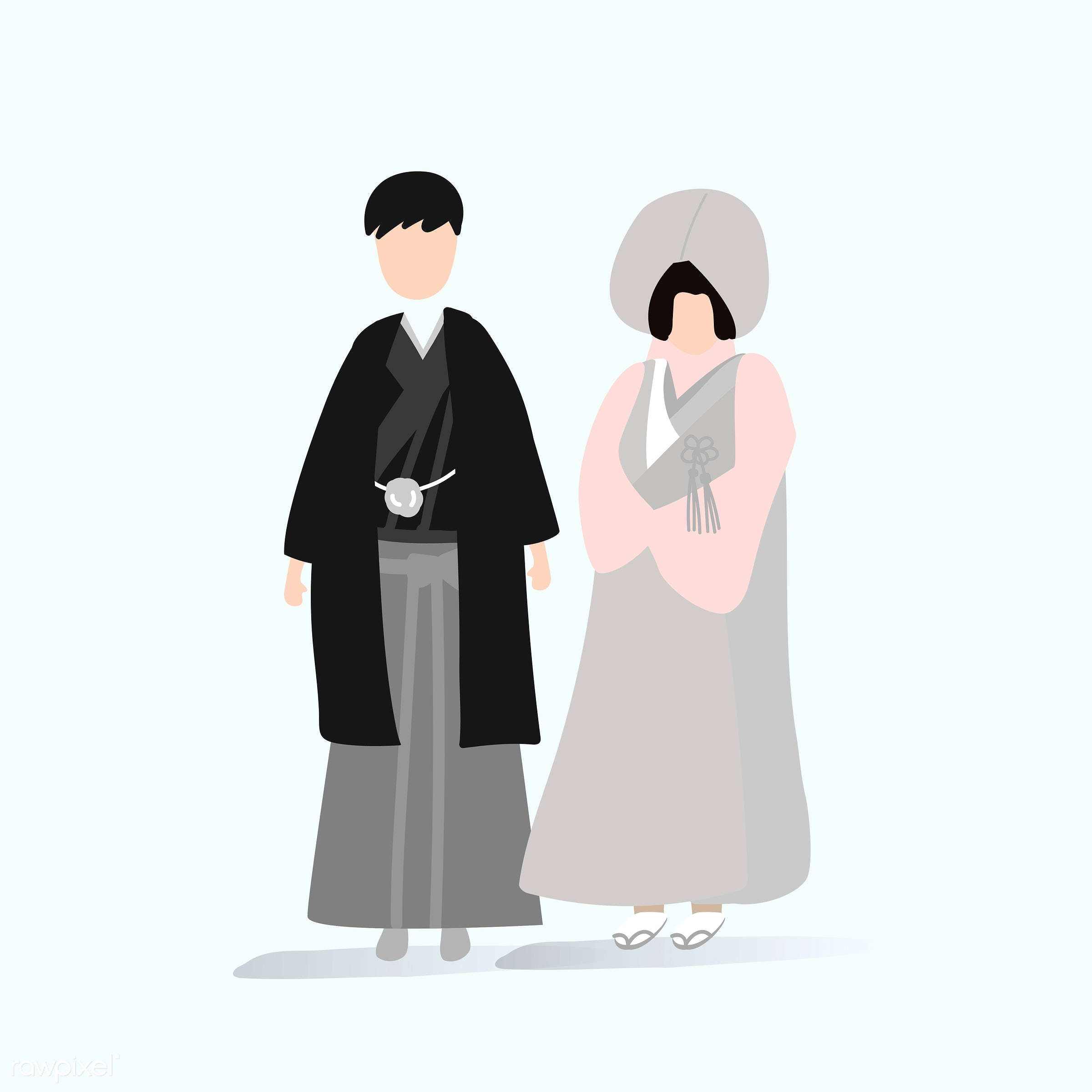 Japanese traditional wedding dress vector - japan, costume, country, couple, female, graphic, illustration, japanese, love,...