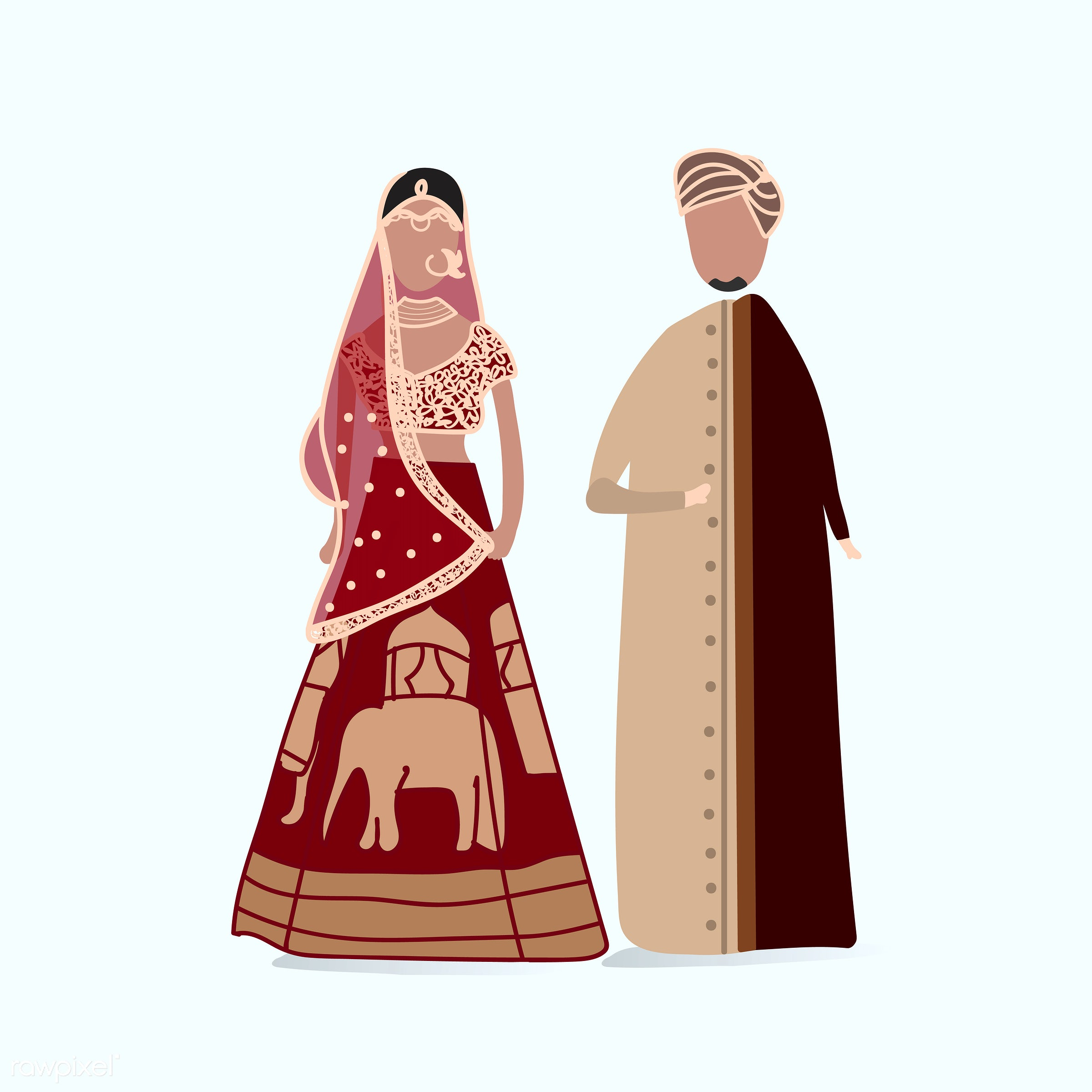 Indian traditional wedding dress vector - couple, female, graphic, illustration, love, male, relation, relationship, sweet,...