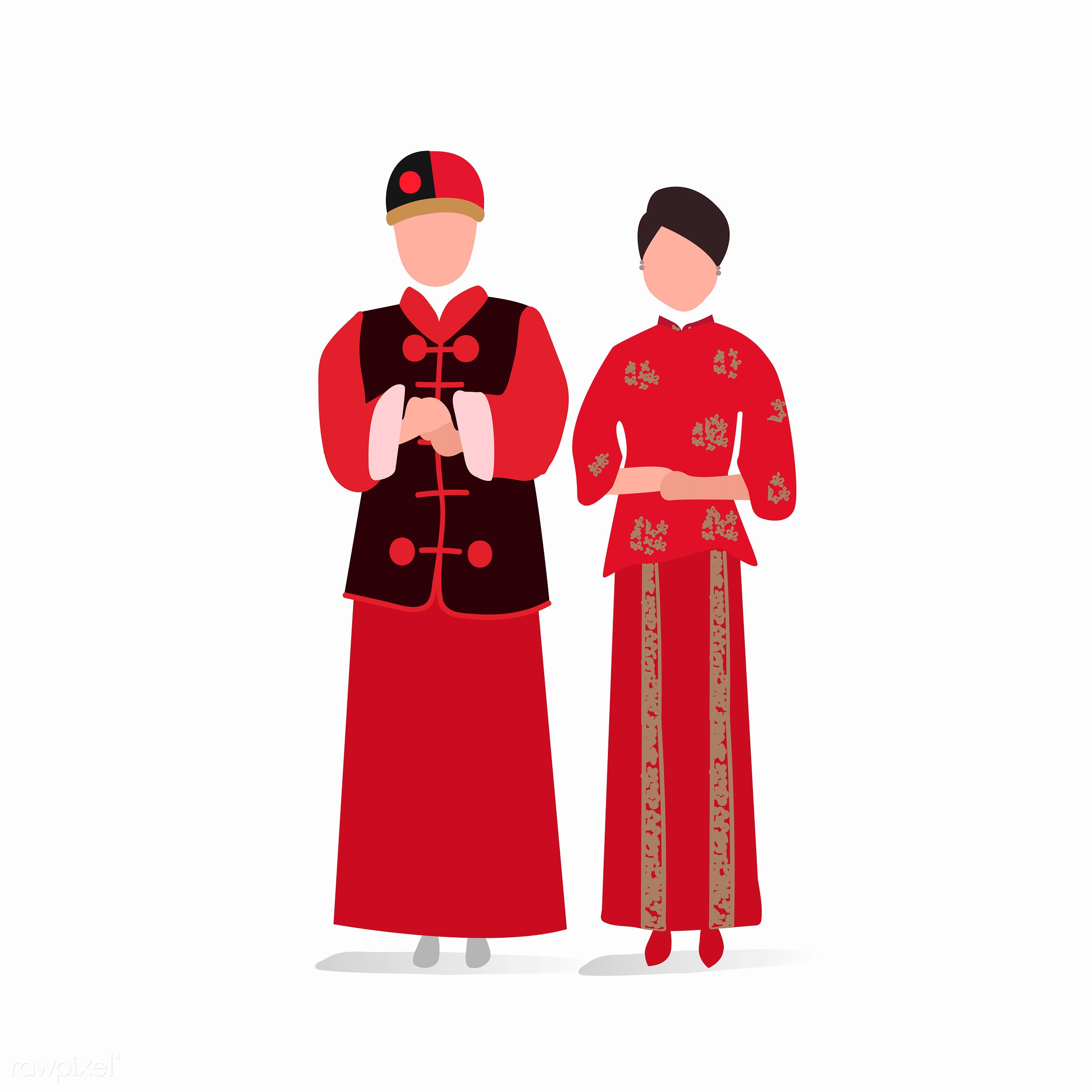 Chinese traditional wedding dress vector - china, chinese, costume, country, couple, female, graphic, illustration, love,...
