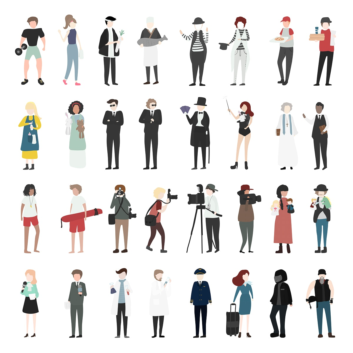 Vector set of illustrated people