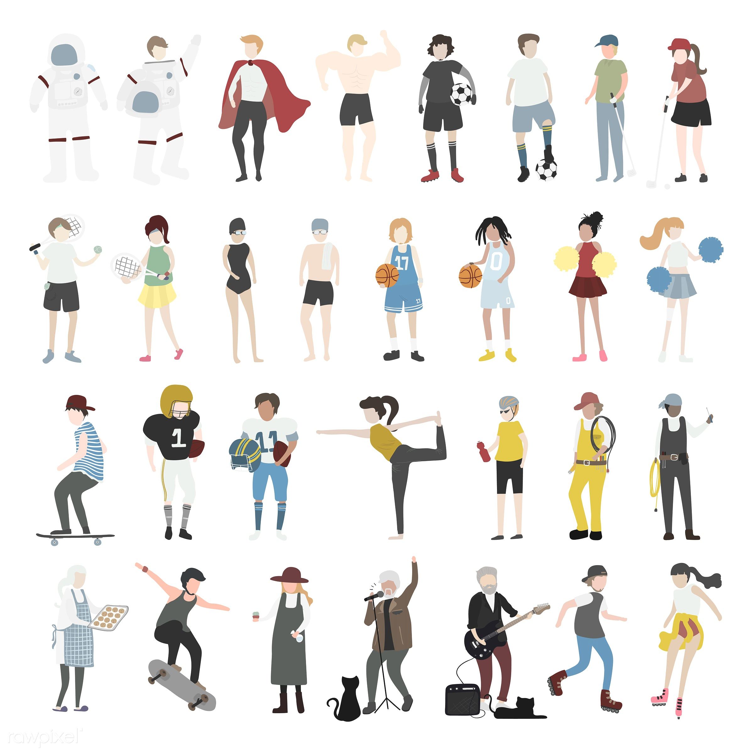 Vector set of illustrated people - career, cartoon, character, collection, community, diversity, graphic, illustration,...
