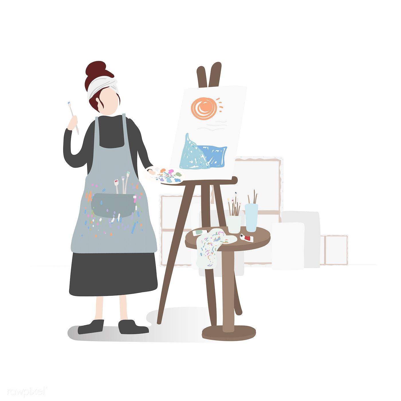 Ilustração de personagem de uma pintura de mulher