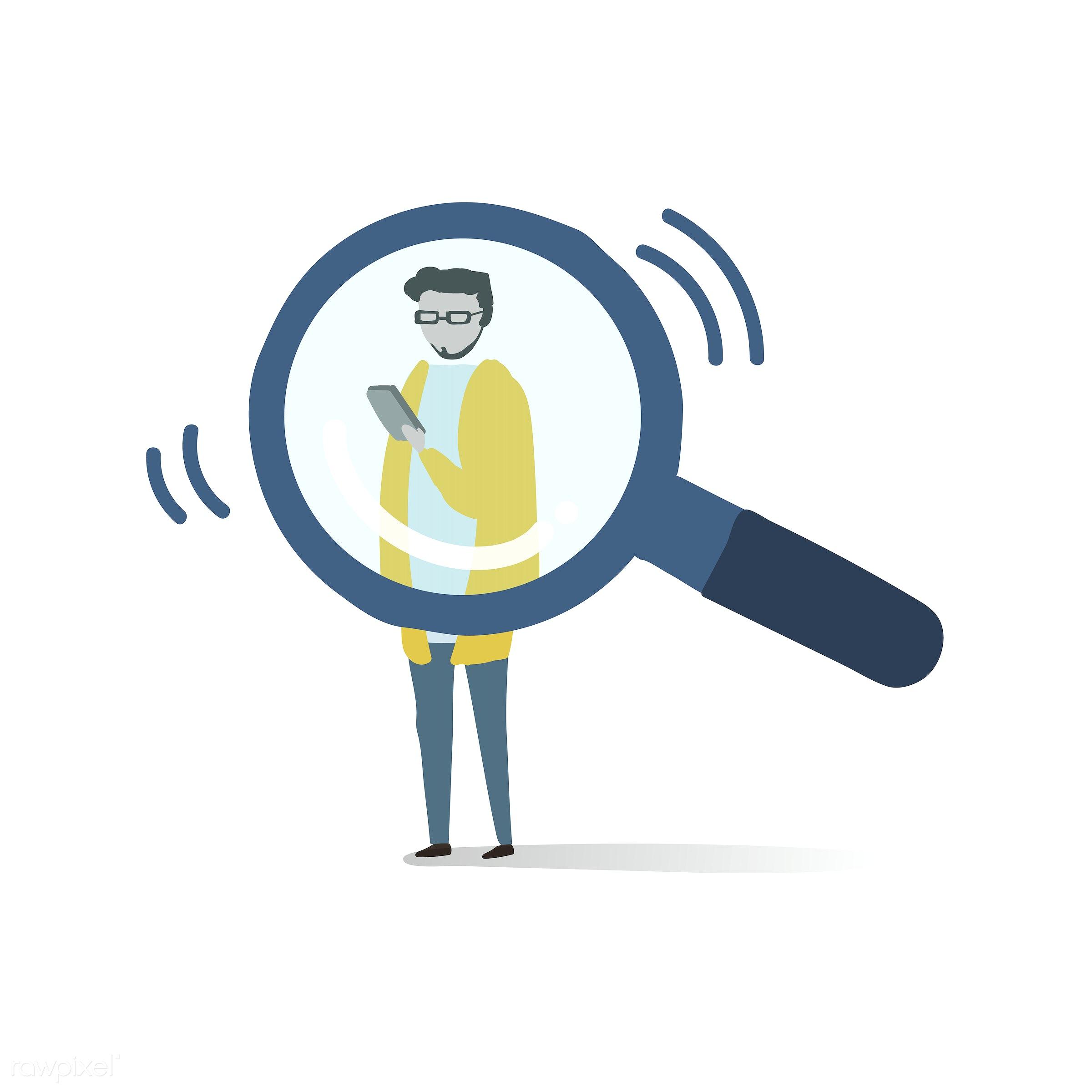 Illustration of human avatar using technology - collection, graphic, icon, illustration, set, vector, activity, avatar,...