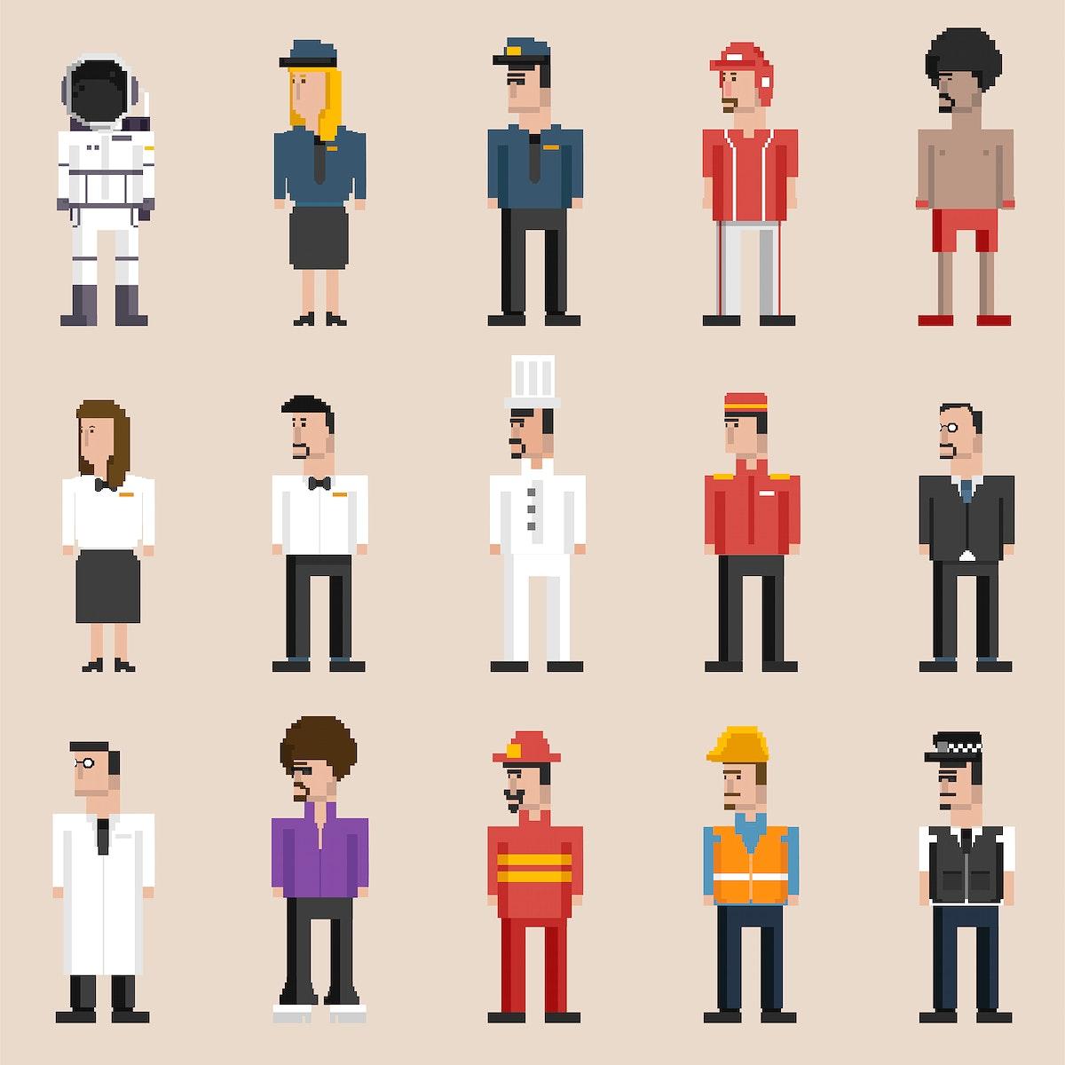 Vector set of men and professions