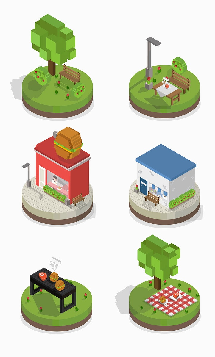 Vector set of pixelated park and city models