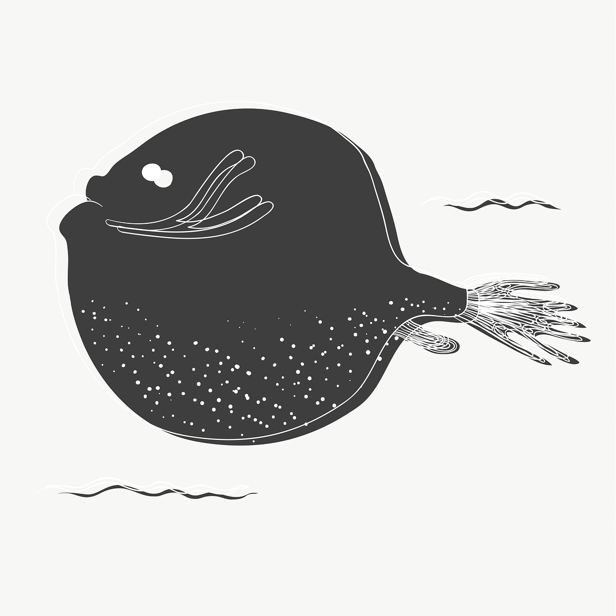 Round fish drawing vector