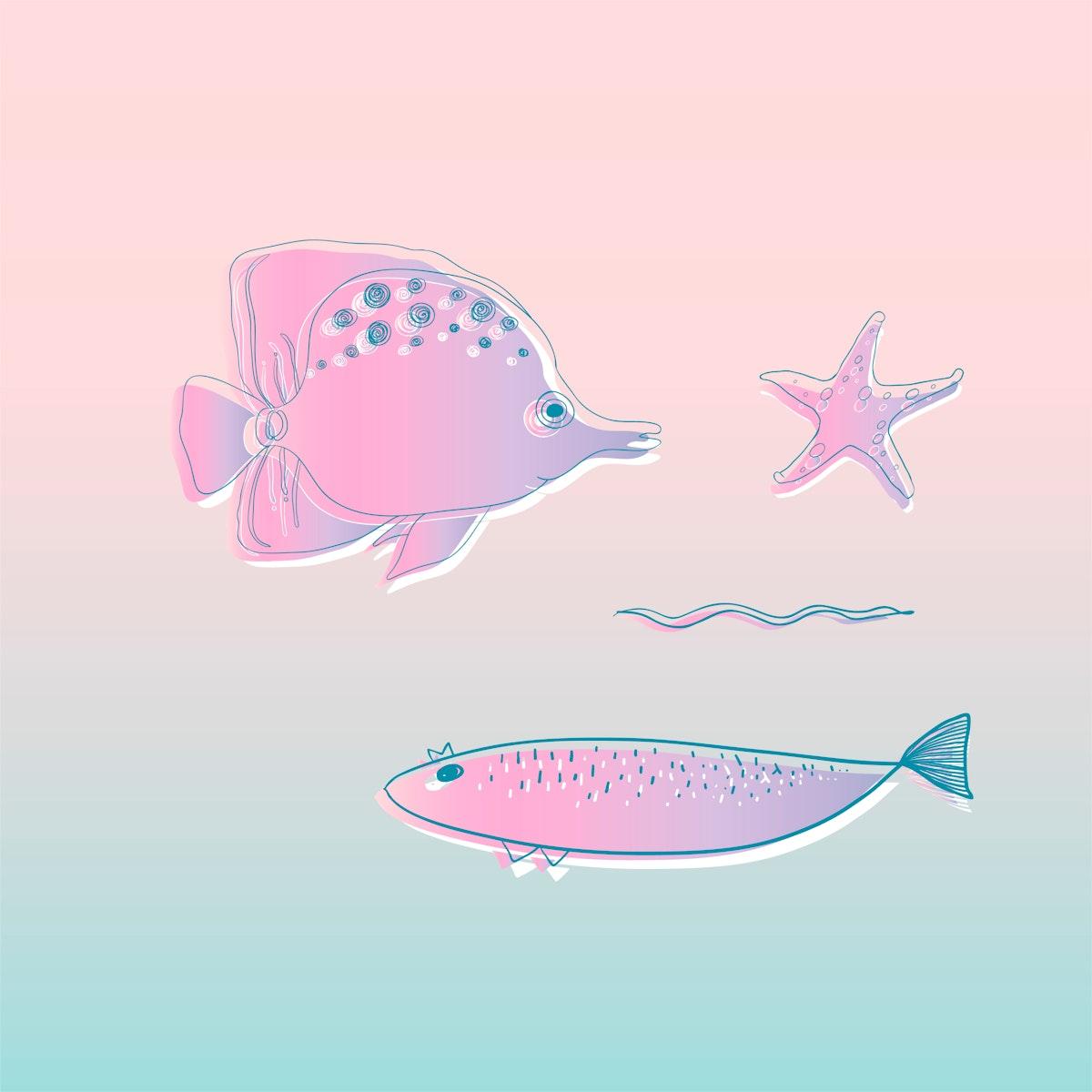 Vector of underwater creatures