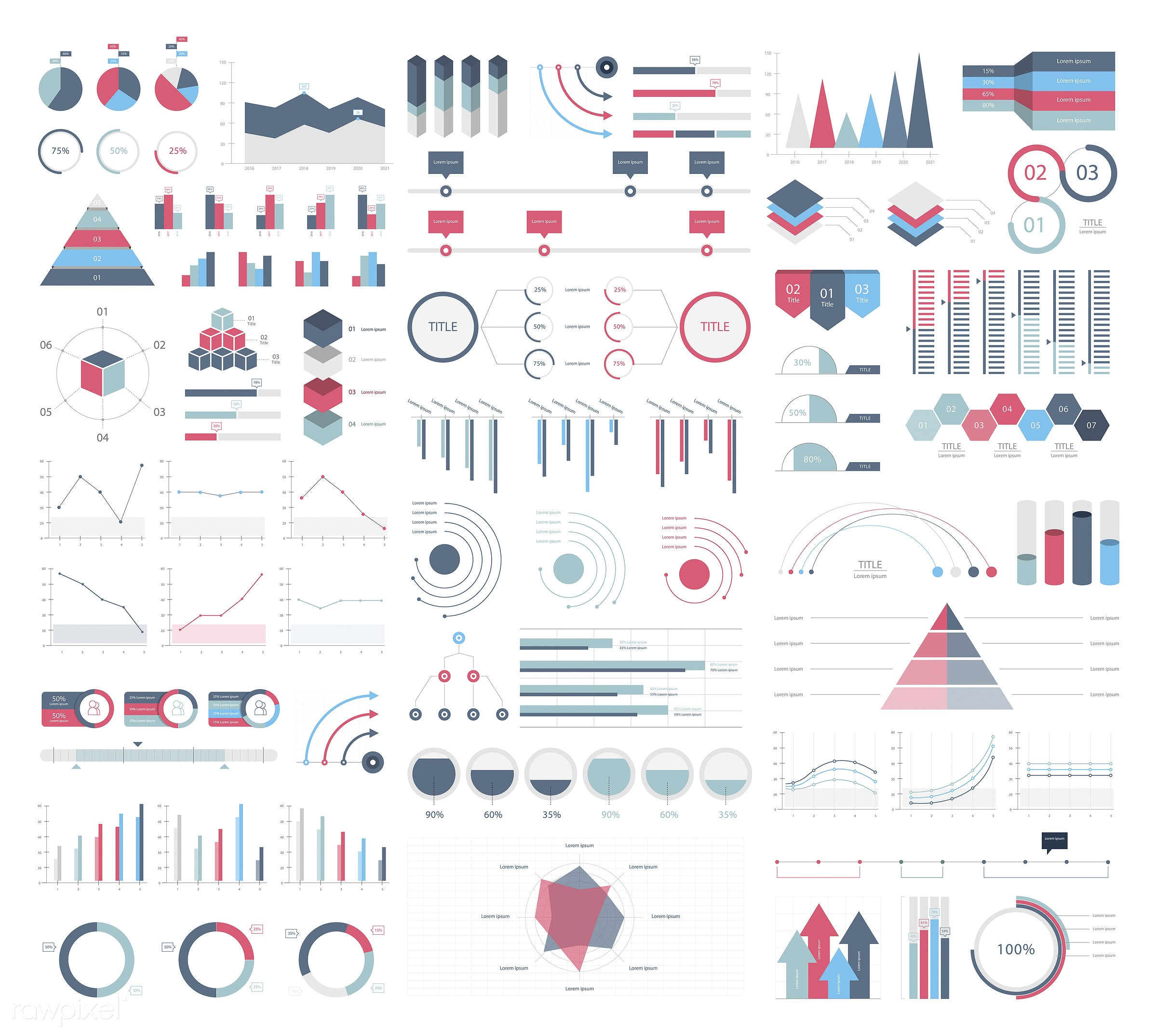 Set elements of infographic - infographic, business, chart, arrow, marketing, report, design, icon, graph, timeline, vector...
