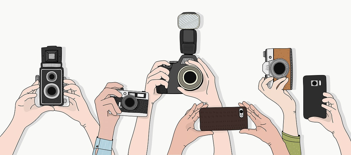 Vector of hands taking photos