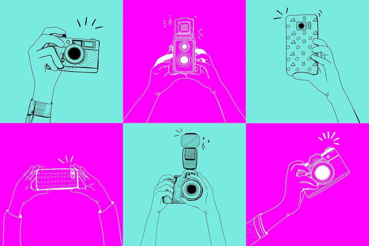 Taking photos drawing vector