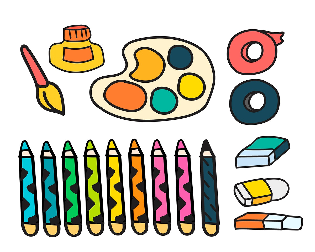 Vector set of art paints stationery doodle style