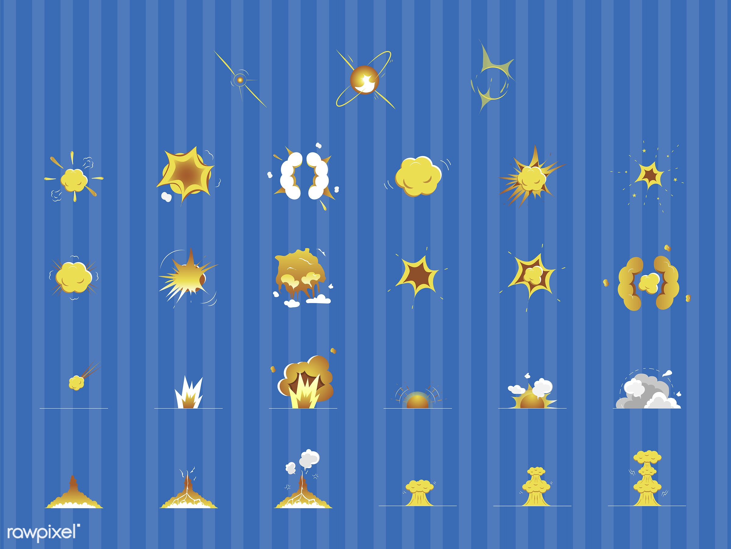vector, illustration, graphic, bomb, boom, pow, explosion, collection, set, blue, striped, copy space, effect, yellow, cloud...