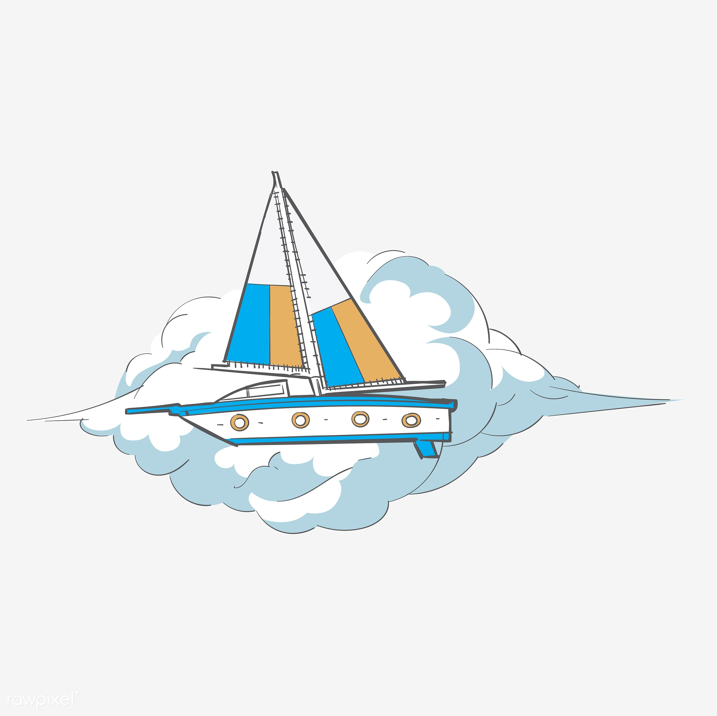 Hand drawing illustration of freedom concept - art, artwork, boat, creative, creativity, cruise, design, draw, drawing,...