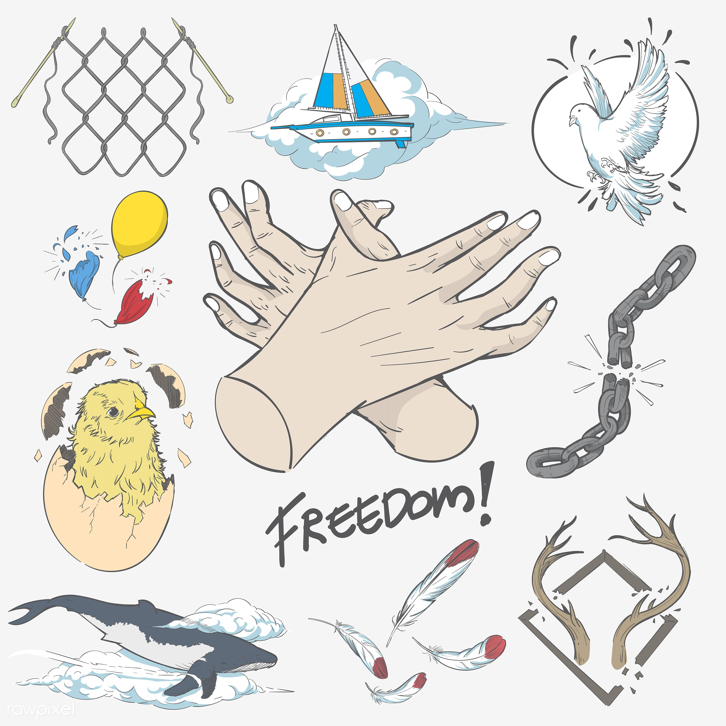 Hand drawing illustration of freedom concept - art, artwork, collection, creative, creativity, design, draw, drawing, drawn...