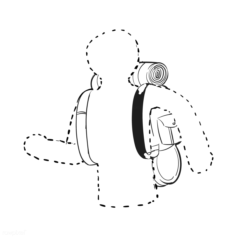 Hand drawing illustration set of wanderlust icons - adventure, art, artwork, backpack, backpacker, camp, camper, camping,...