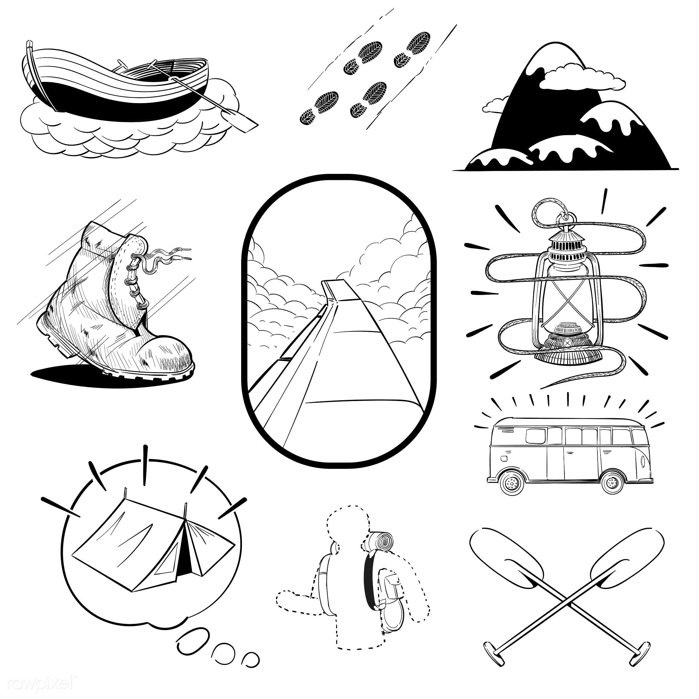 Hand drawing illustration set of wanderlust icons - camping, adventure, art, artwork, camp, collection, creative, creativity...