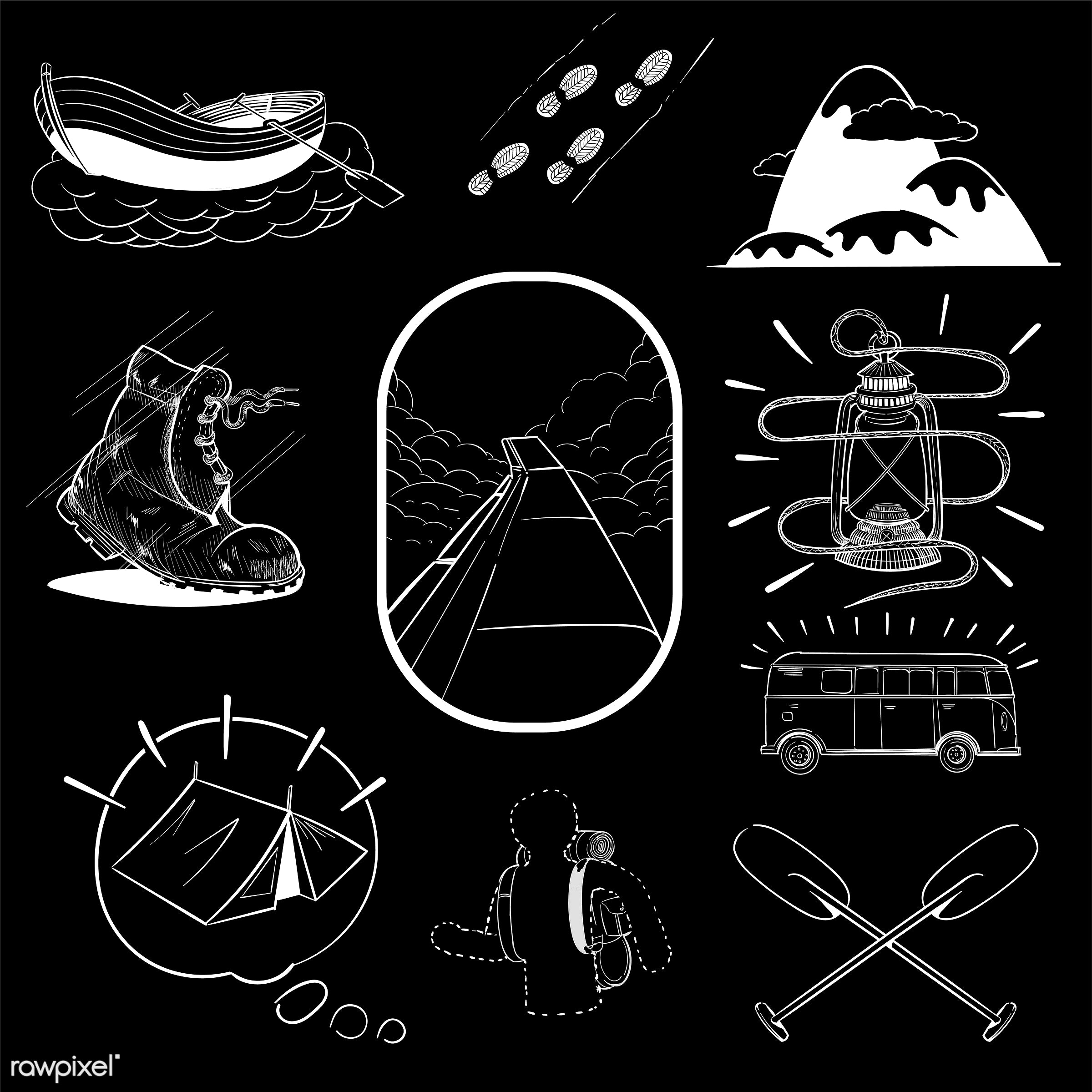 Hand drawing illustration set of wanderlust icons - adventure, art, artwork, camp, camping, collection, creative, creativity...