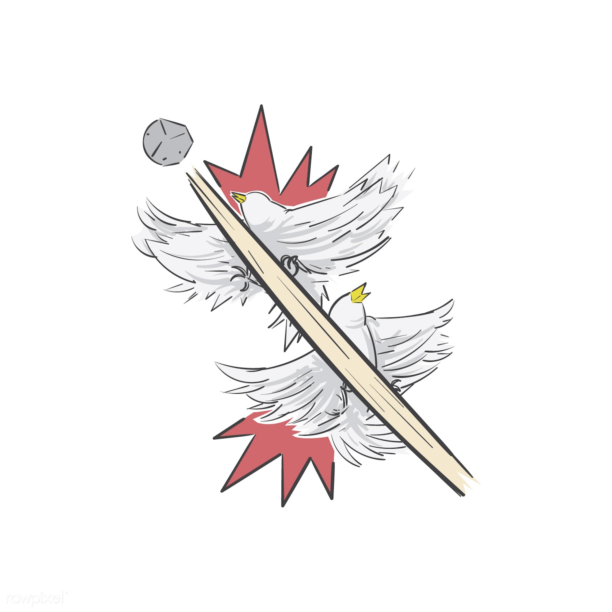 Kill two birds with one stone idiom vector - achievement, affective, art, benefits, birds, creative, creativity, design,...