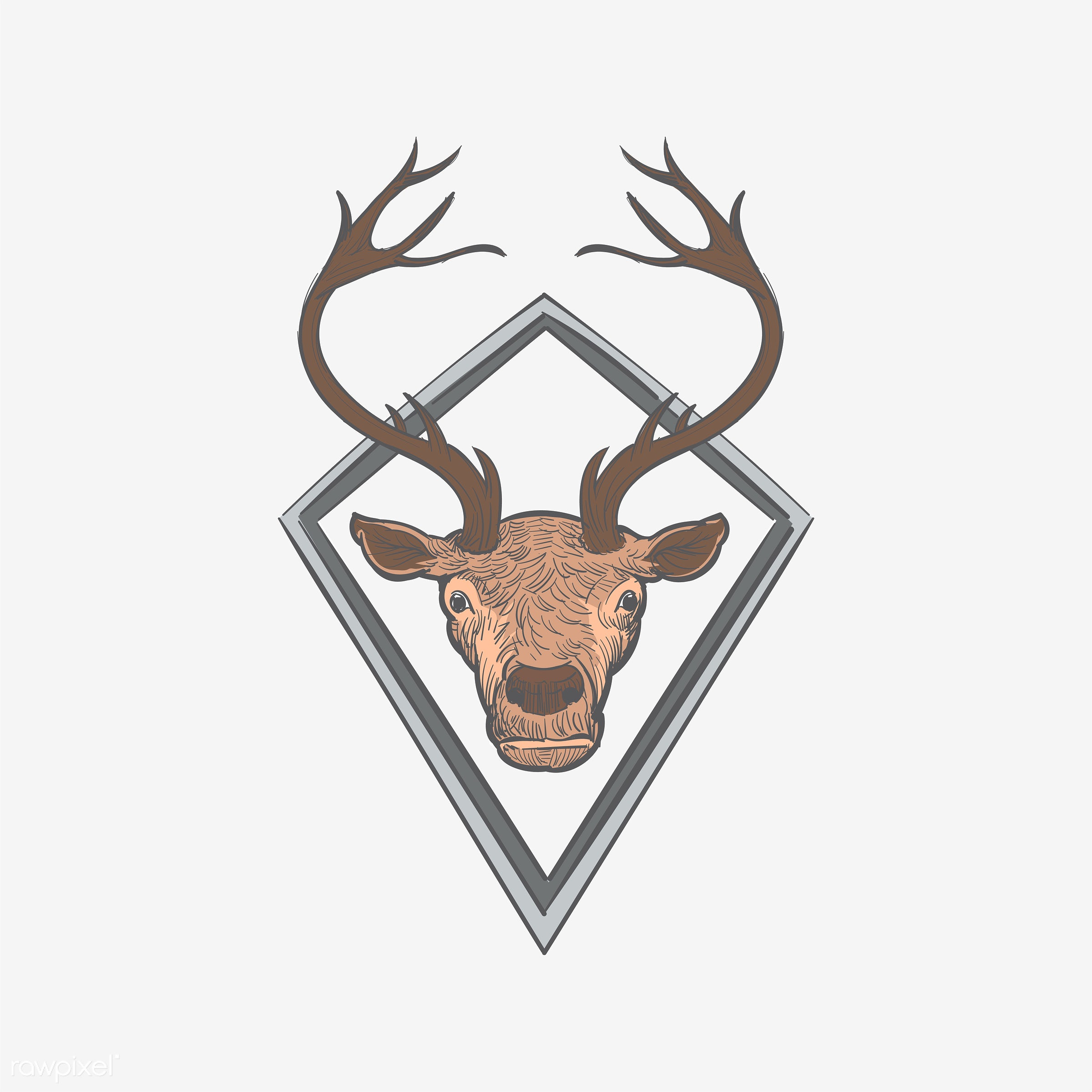 Hand drawing illustration of hipster style concept - antler, art, artwork, cool, creative, creativity, dead, decorate,...