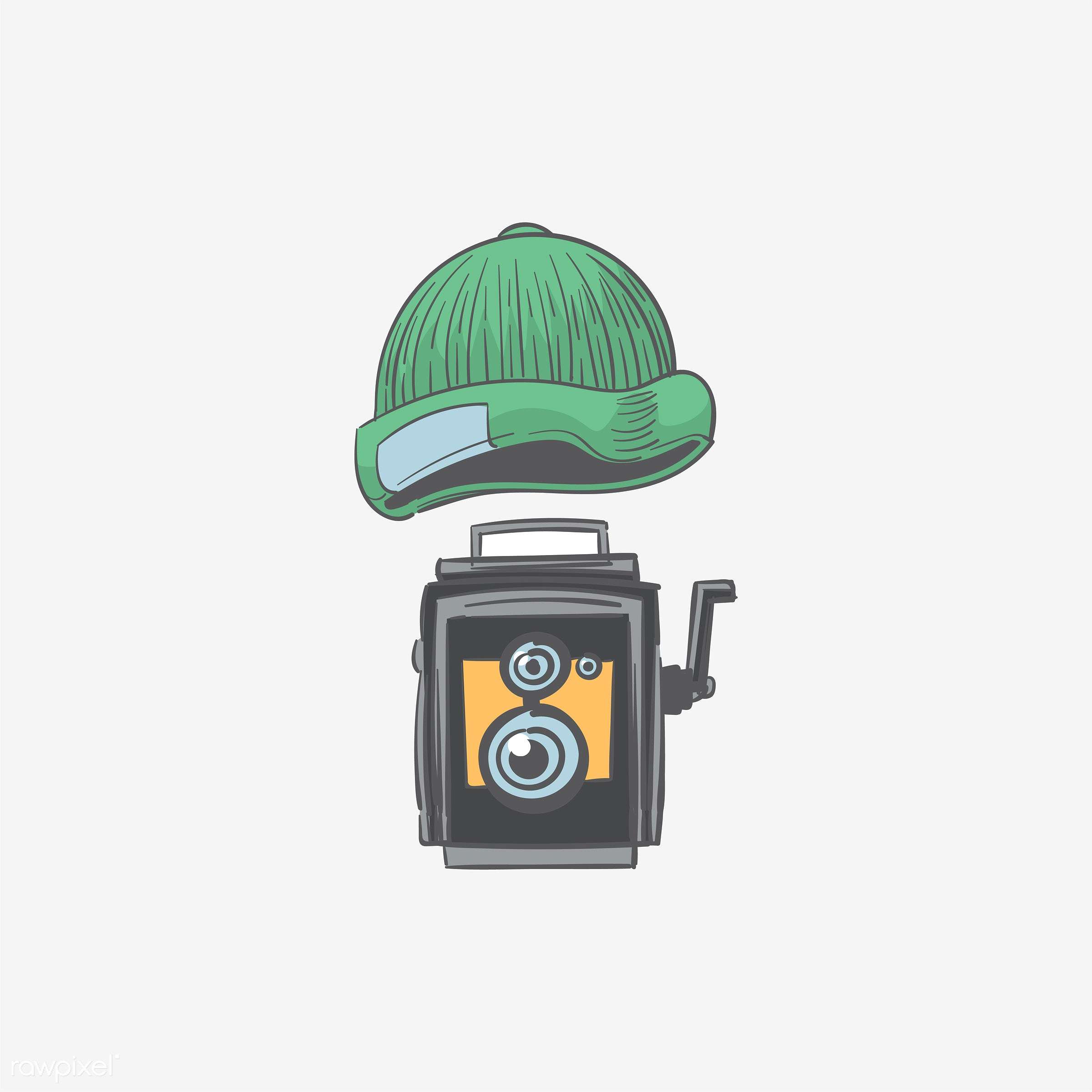 Hand drawing illustration of hipster style concept - art, artwork, camera, classic, cool, creative, creativity, design, draw...