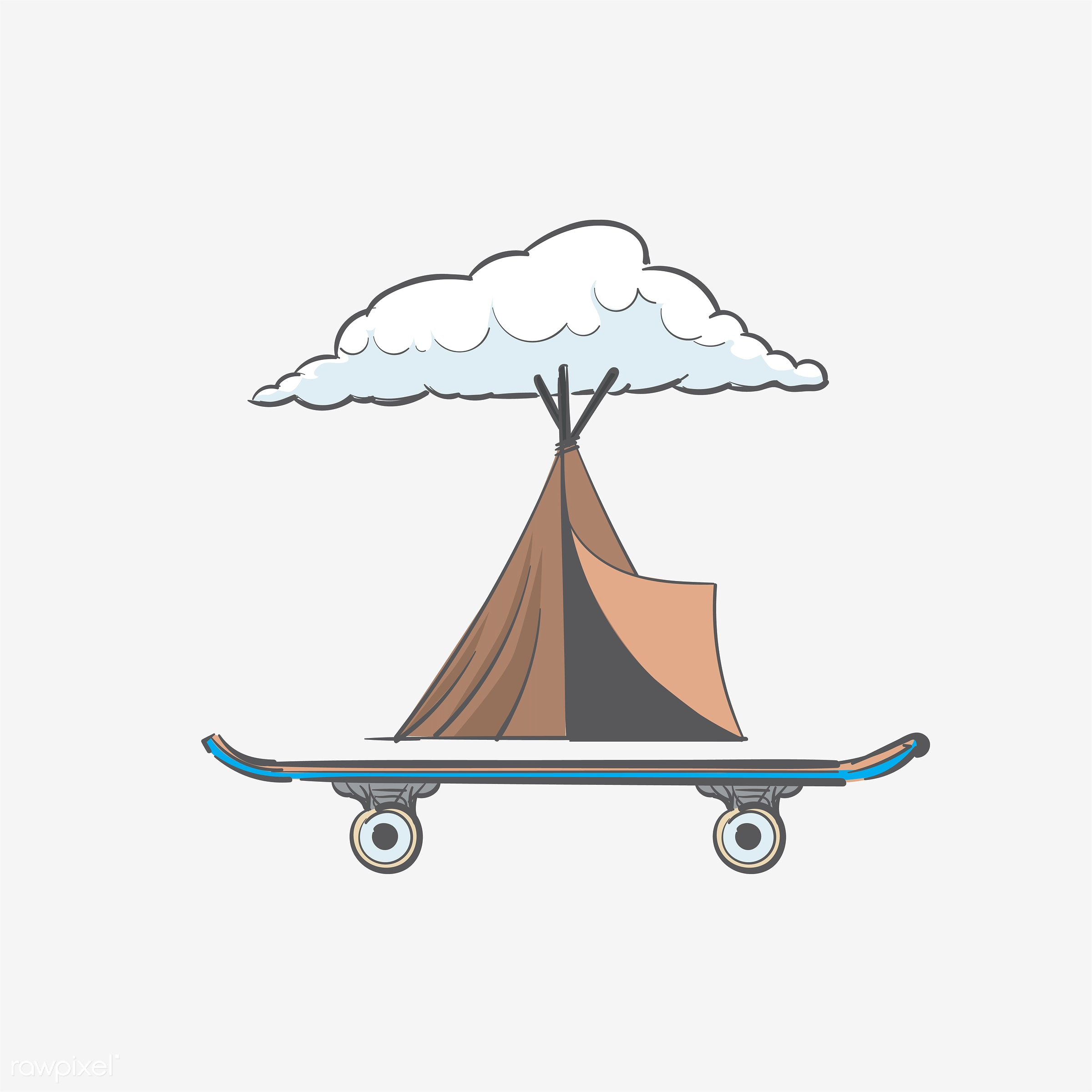 Hand drawing illustration of hipster style concept - art, artwork, camp, camper, camping, cool, creative, creativity, design...