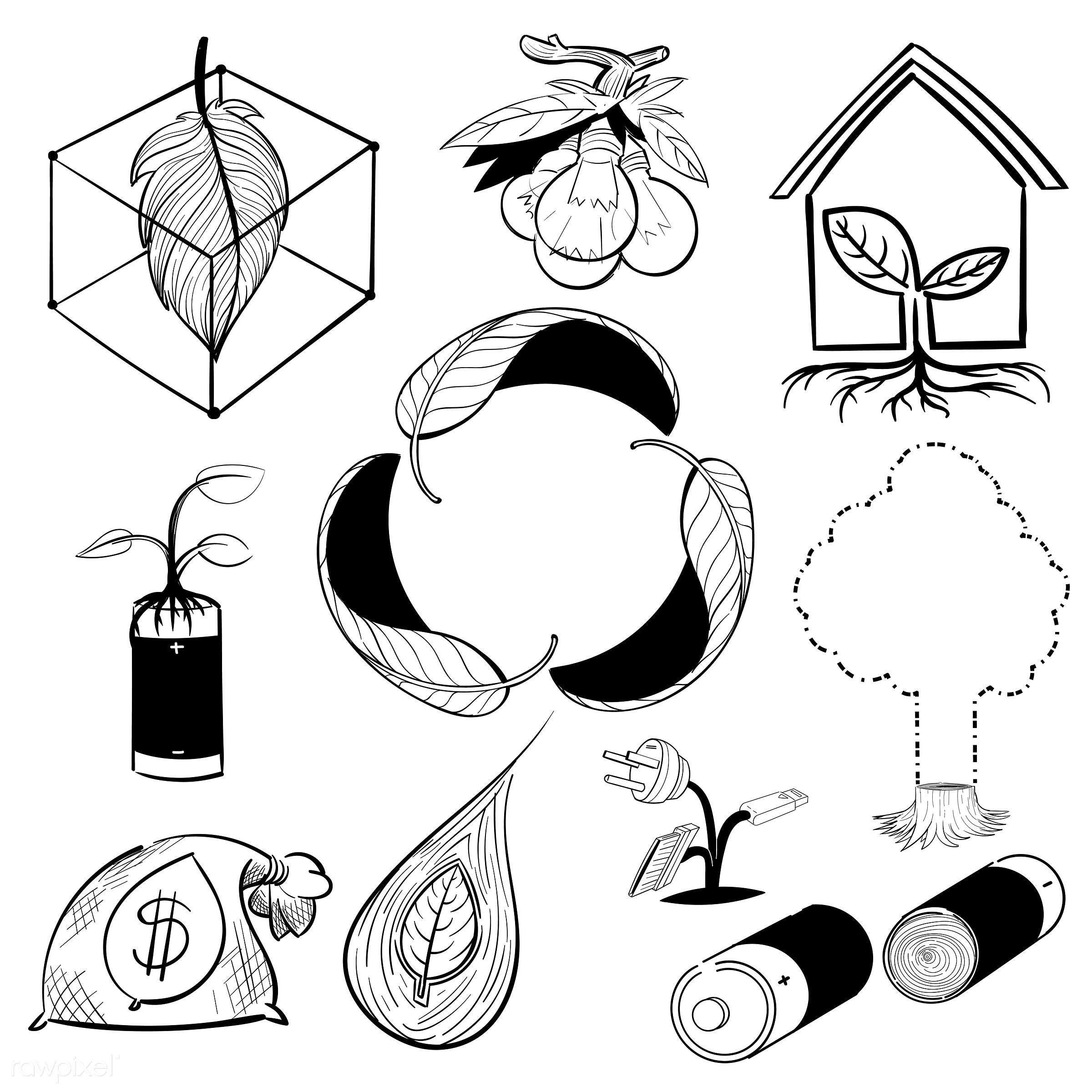 Hand drawing illustration set of environment sustainable - art, artwork, clean, collection, creative, creativity, design,...