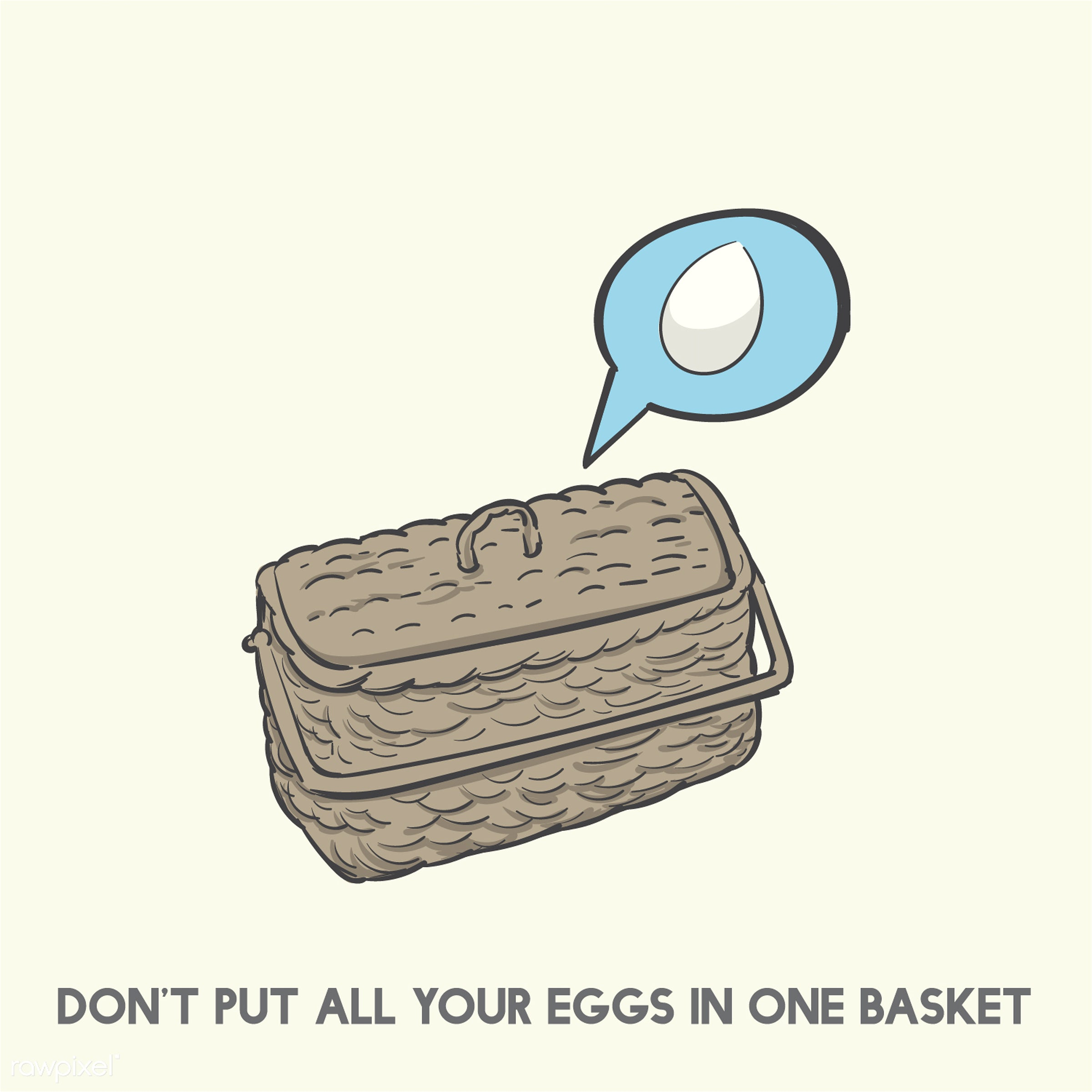 Don't put all your eggs in one basket - all, allocation, art, basket, creative, creativity, design, drawing, drawn, egg...